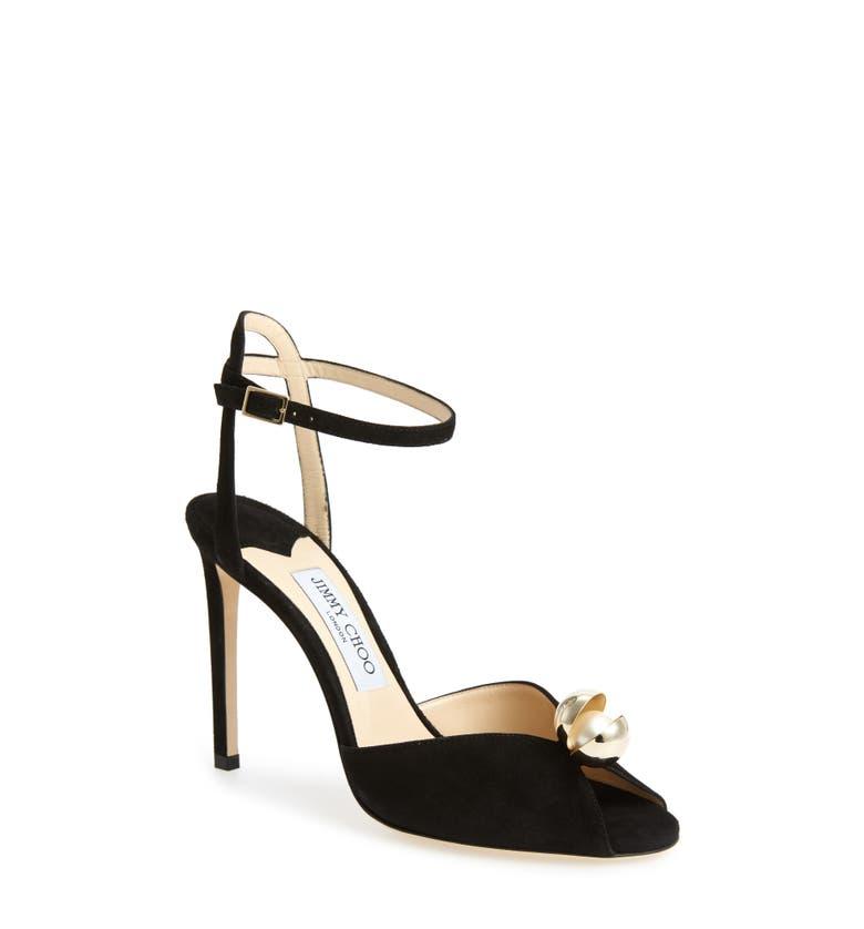 f03f8d4cbef Jimmy Choo Sacora 100 Embellished Suede Sandals In Black