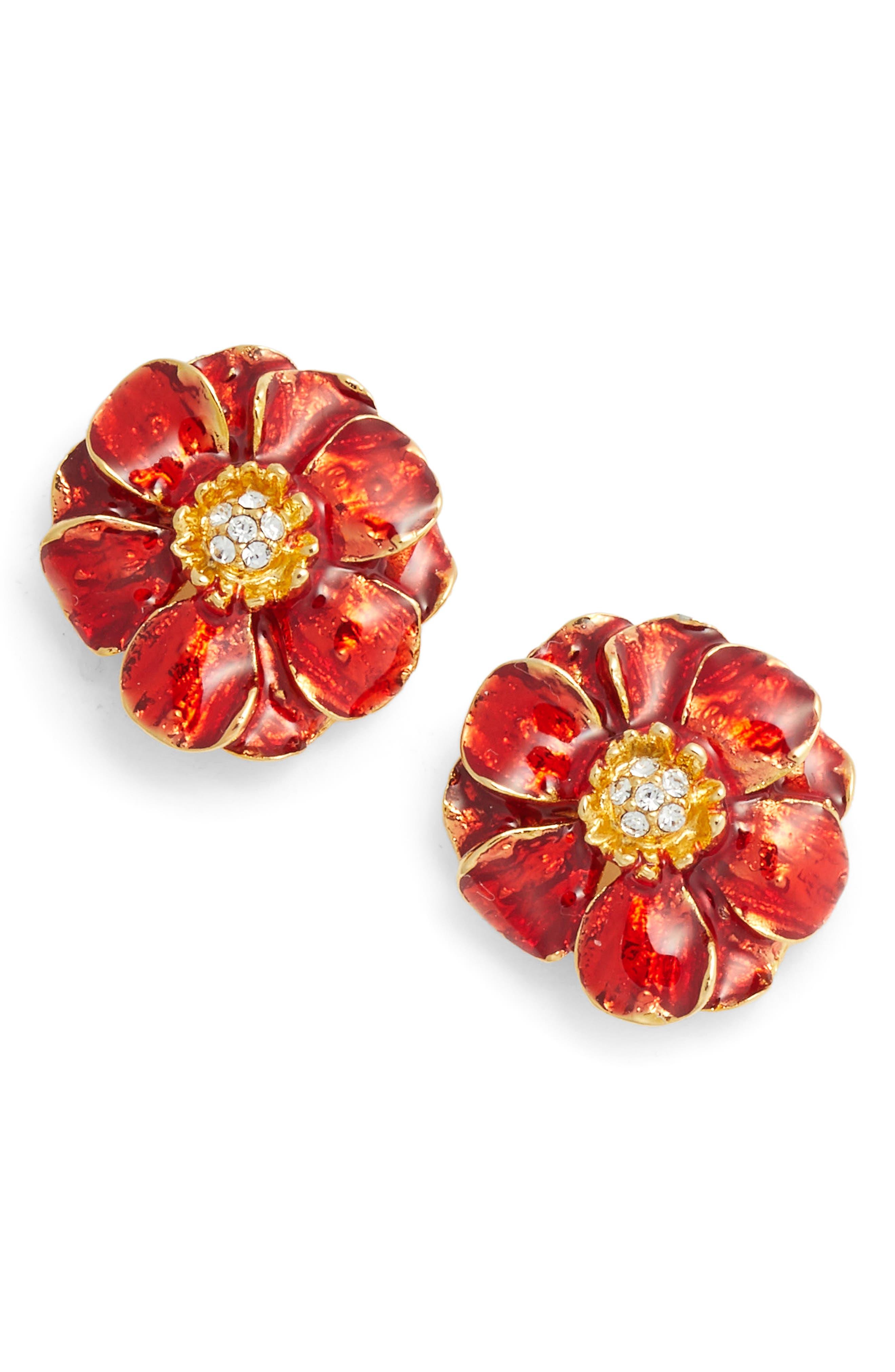 Goldtone Les Roses Earrings,                             Main thumbnail 1, color,                             Multi