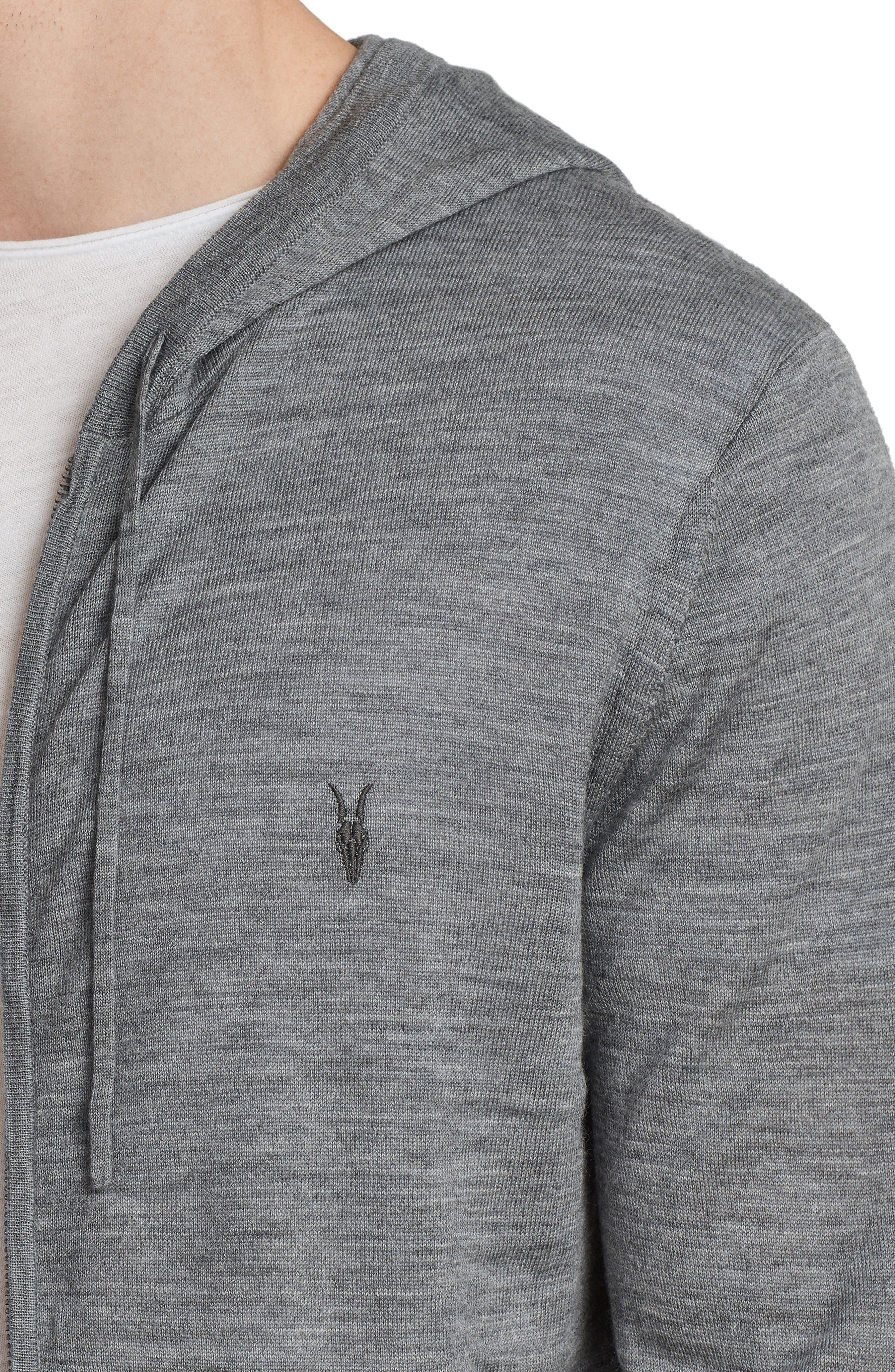 Mode Slim Fit Merino Wool Zip Hoodie,                             Alternate thumbnail 4, color,                             Grey Marl