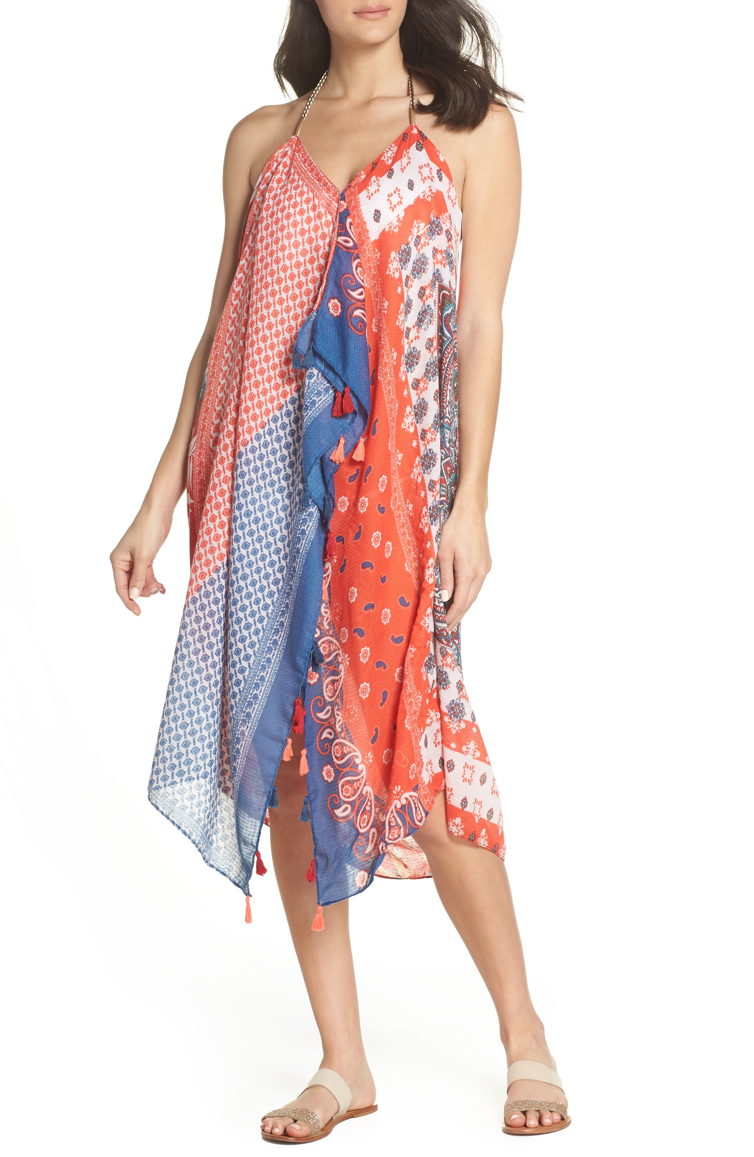 Beach to Street Cover-Up Maxi Dress,                             Main thumbnail 1, color,                             Red Multi
