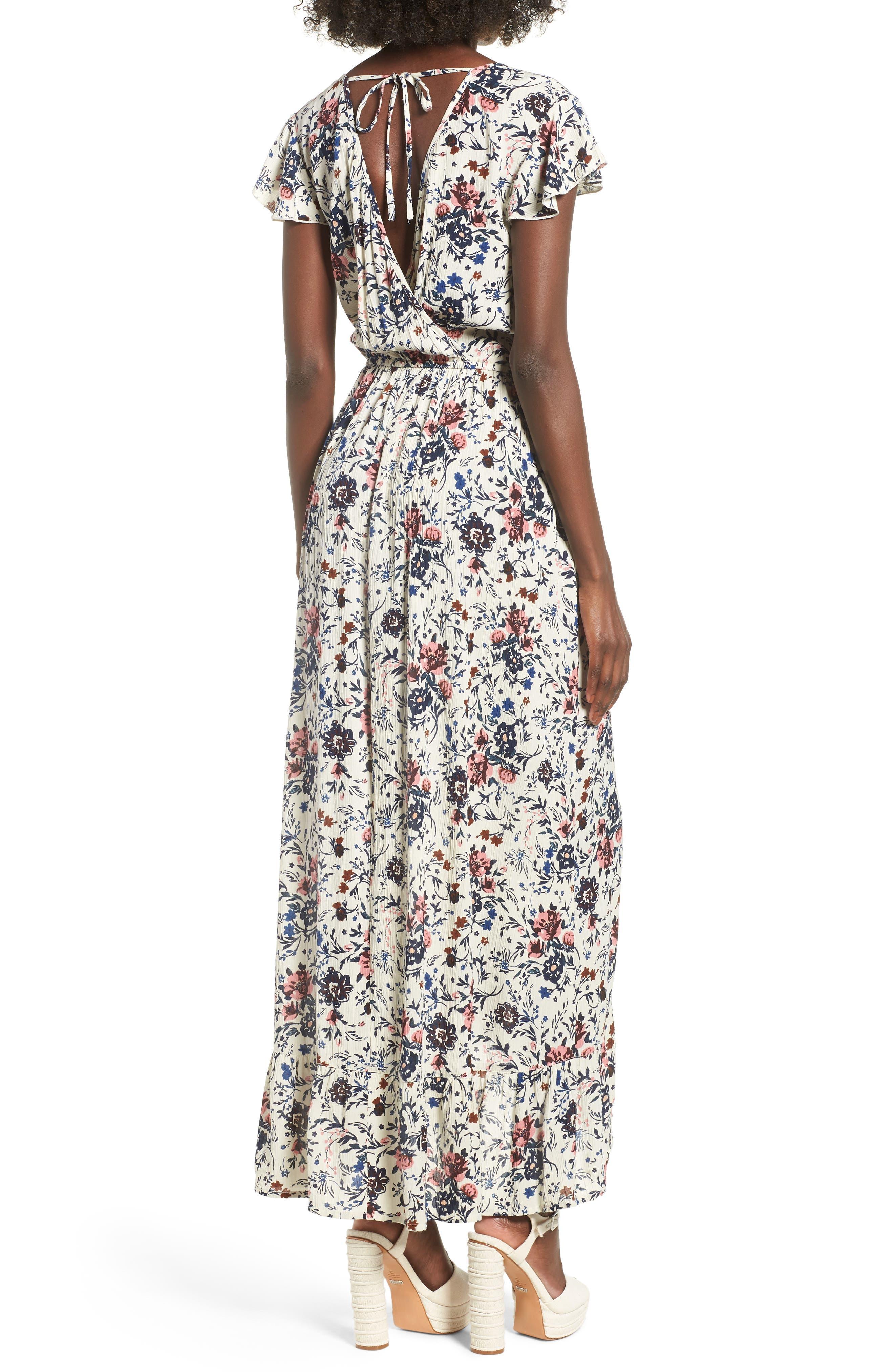 Floral Maxi Dress,                             Alternate thumbnail 2, color,                             Ivory Floral