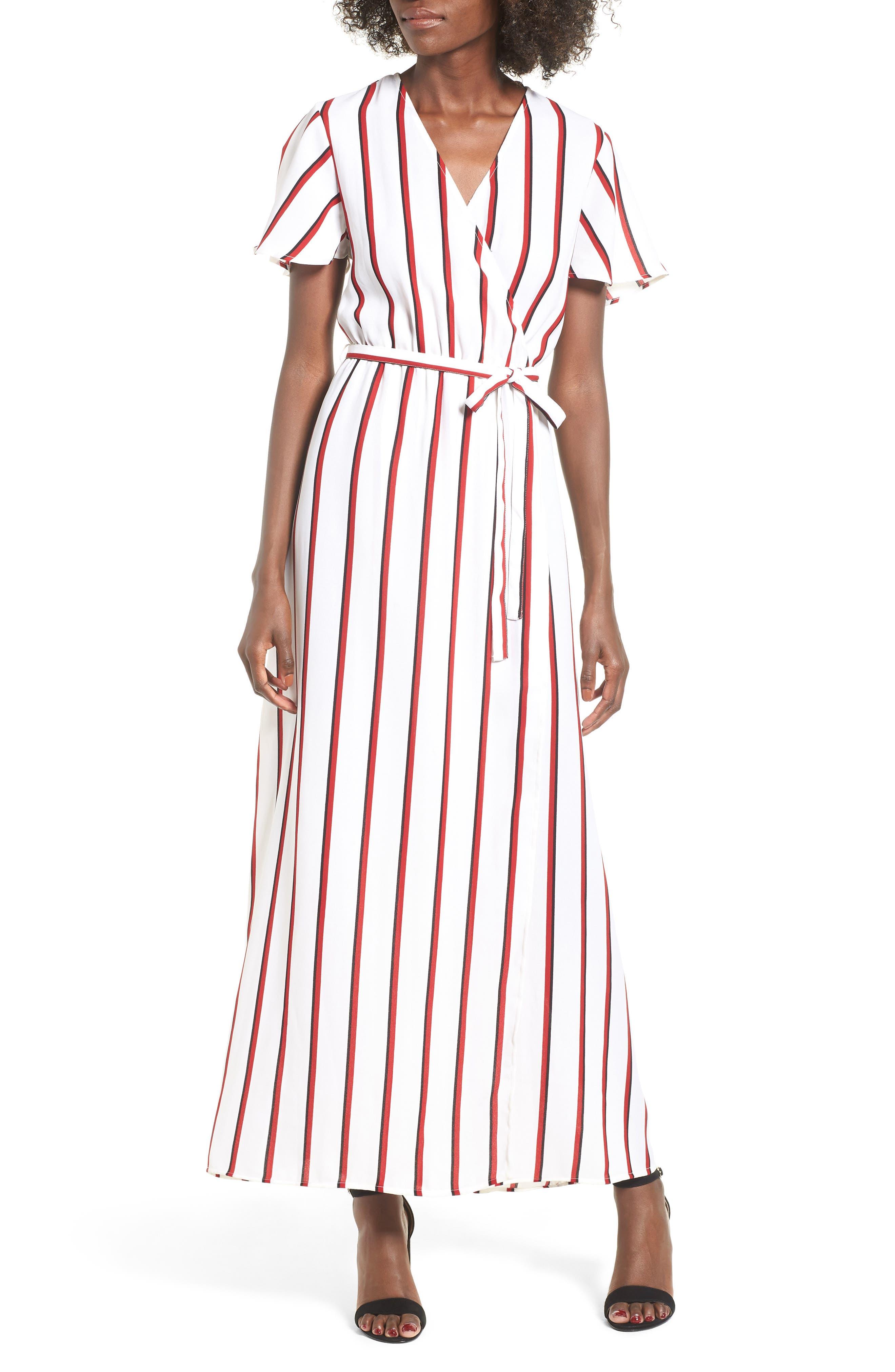 EZ Days Satin Wrap Maxi Dress,                             Alternate thumbnail 4, color,                             Chili Red
