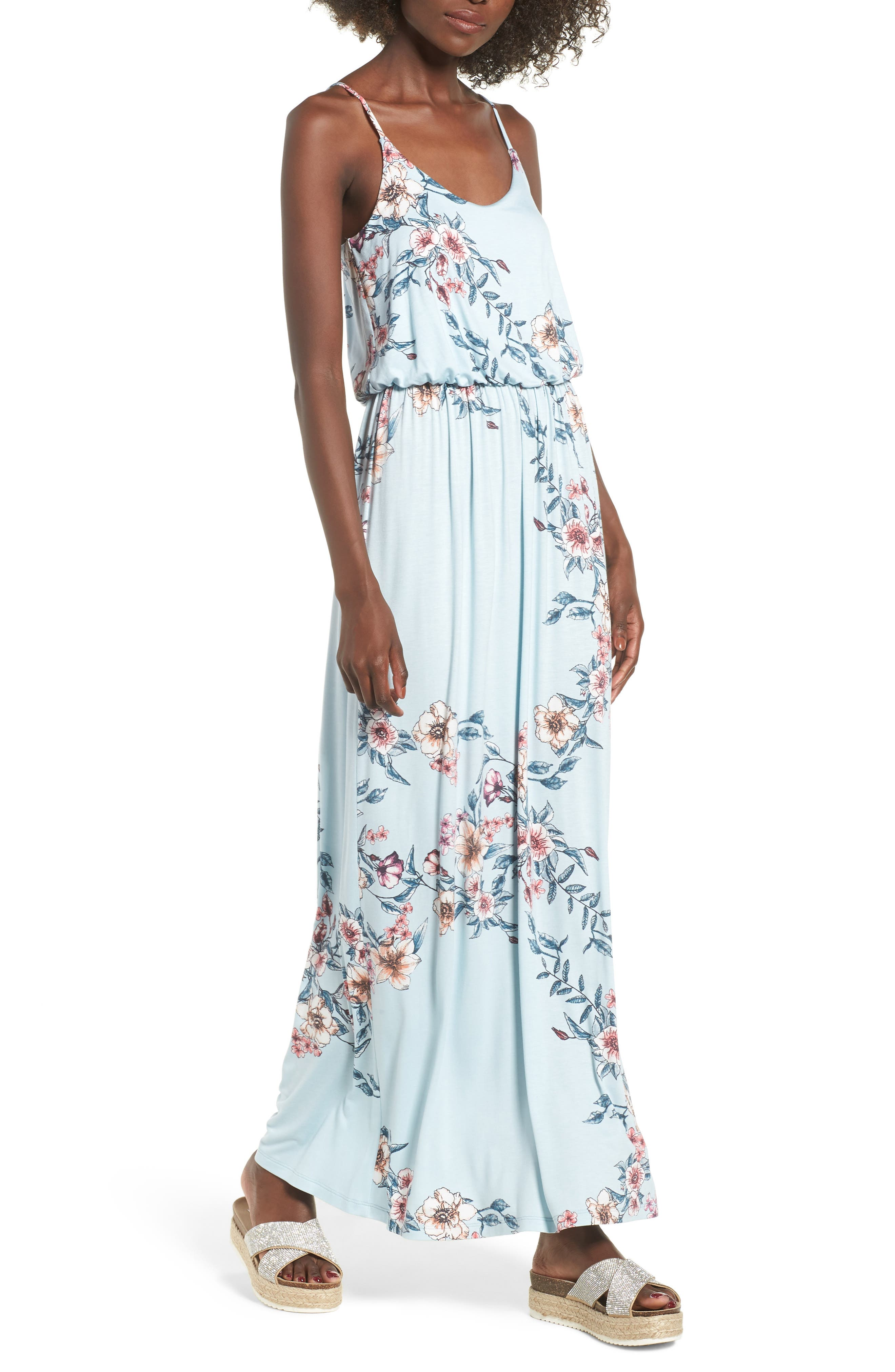 Knit Maxi Dress,                             Main thumbnail 1, color,                             Sky Rose