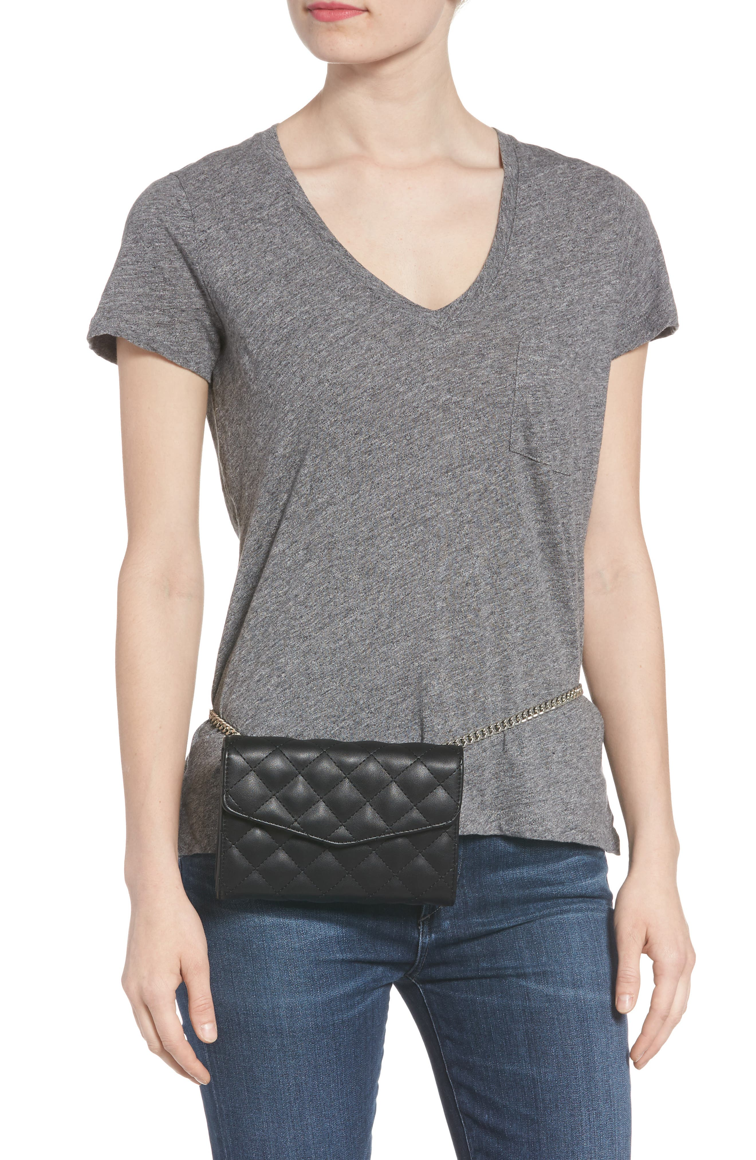 Quilted Bag with Crossbody Strap,                             Alternate thumbnail 3, color,                             Black