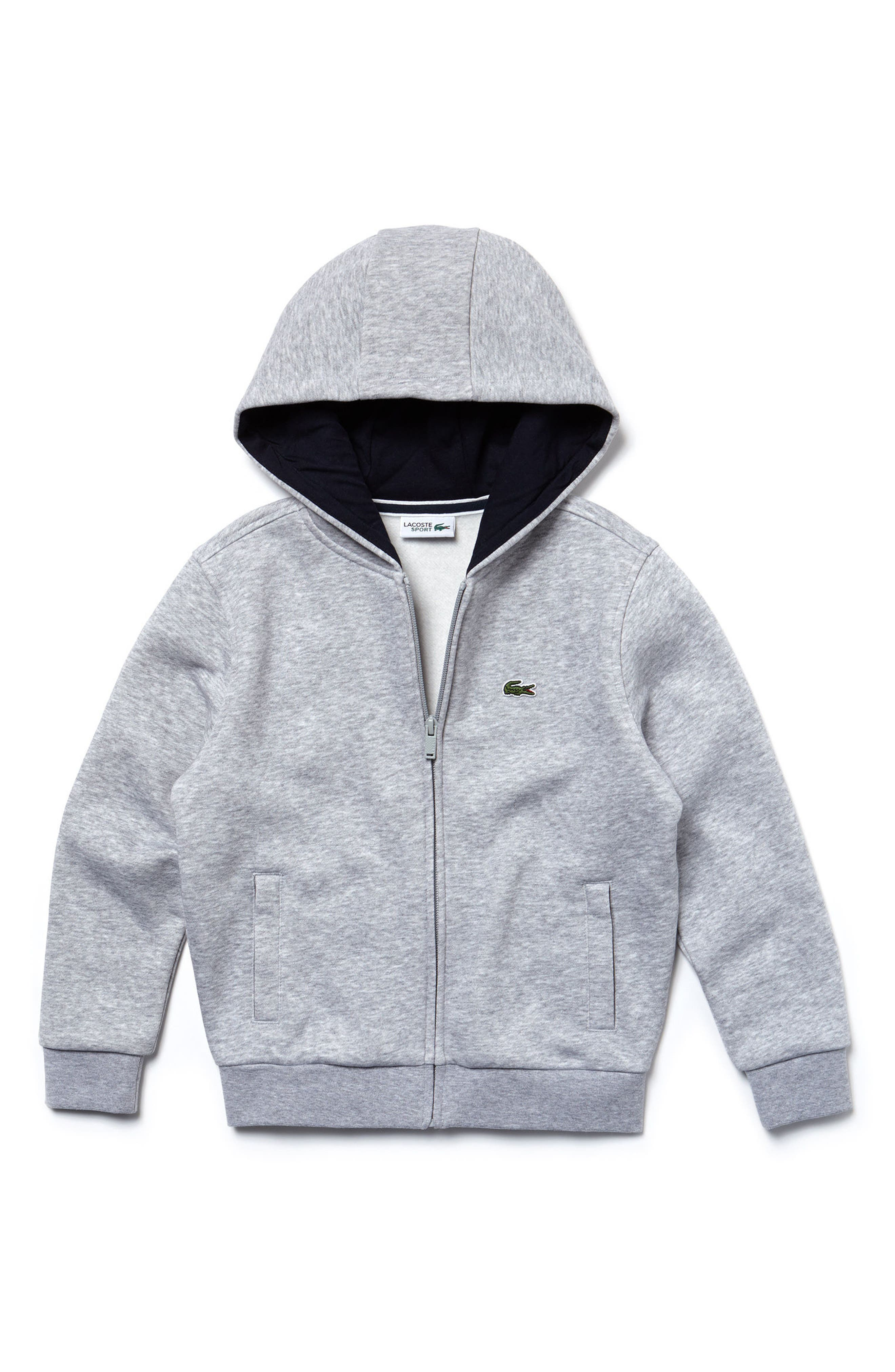 Sporty Fleece Full Zip Hoodie,                             Main thumbnail 1, color,                             Silver Grey Chine