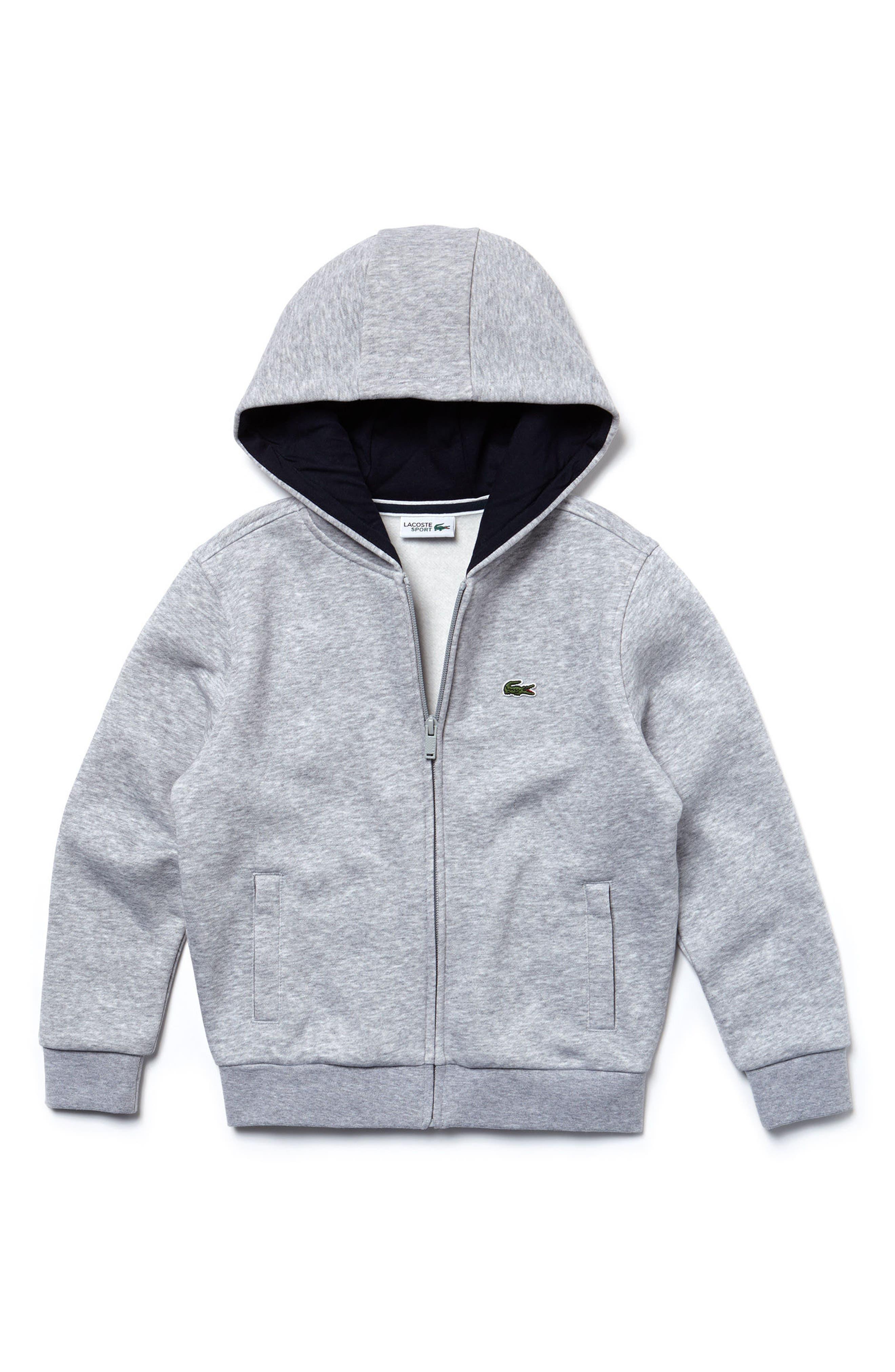 Sporty Fleece Full Zip Hoodie,                         Main,                         color, Silver Grey Chine