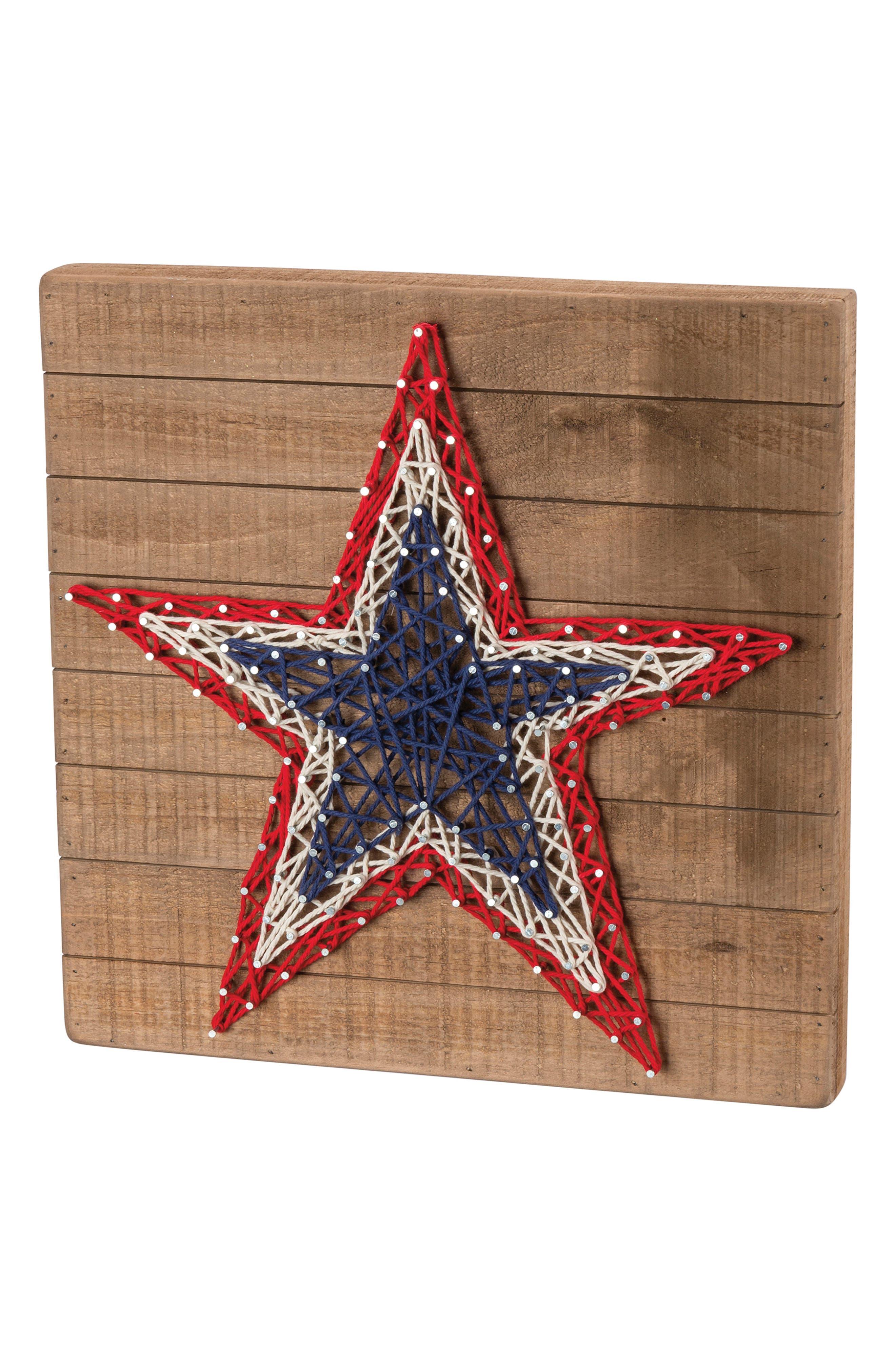 Patriotic Star String Art Box Sign,                         Main,                         color, Brown
