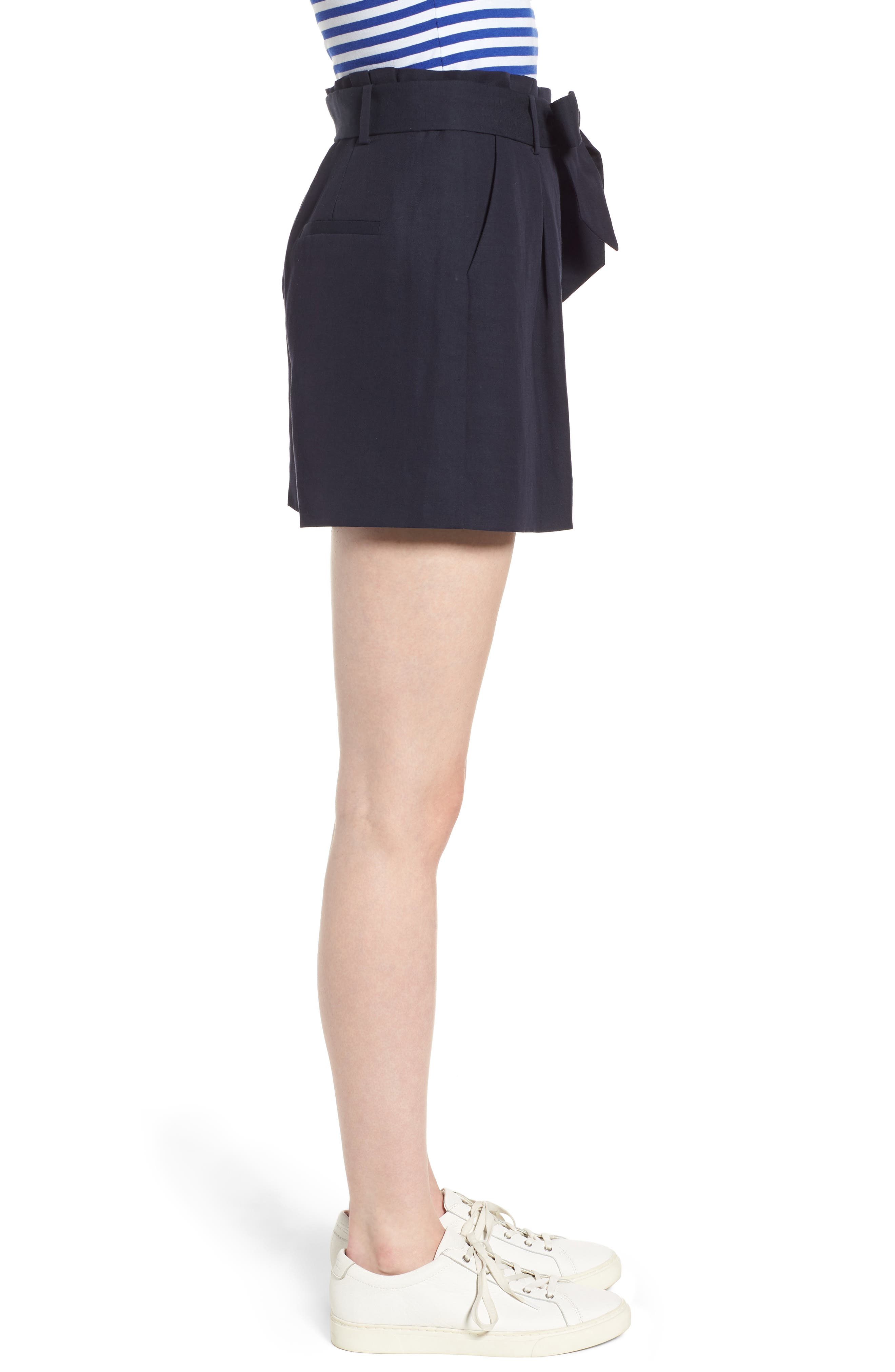 Paperbag Waist Linen & Cotton Blend Shorts,                             Alternate thumbnail 5, color,                             Navy Night