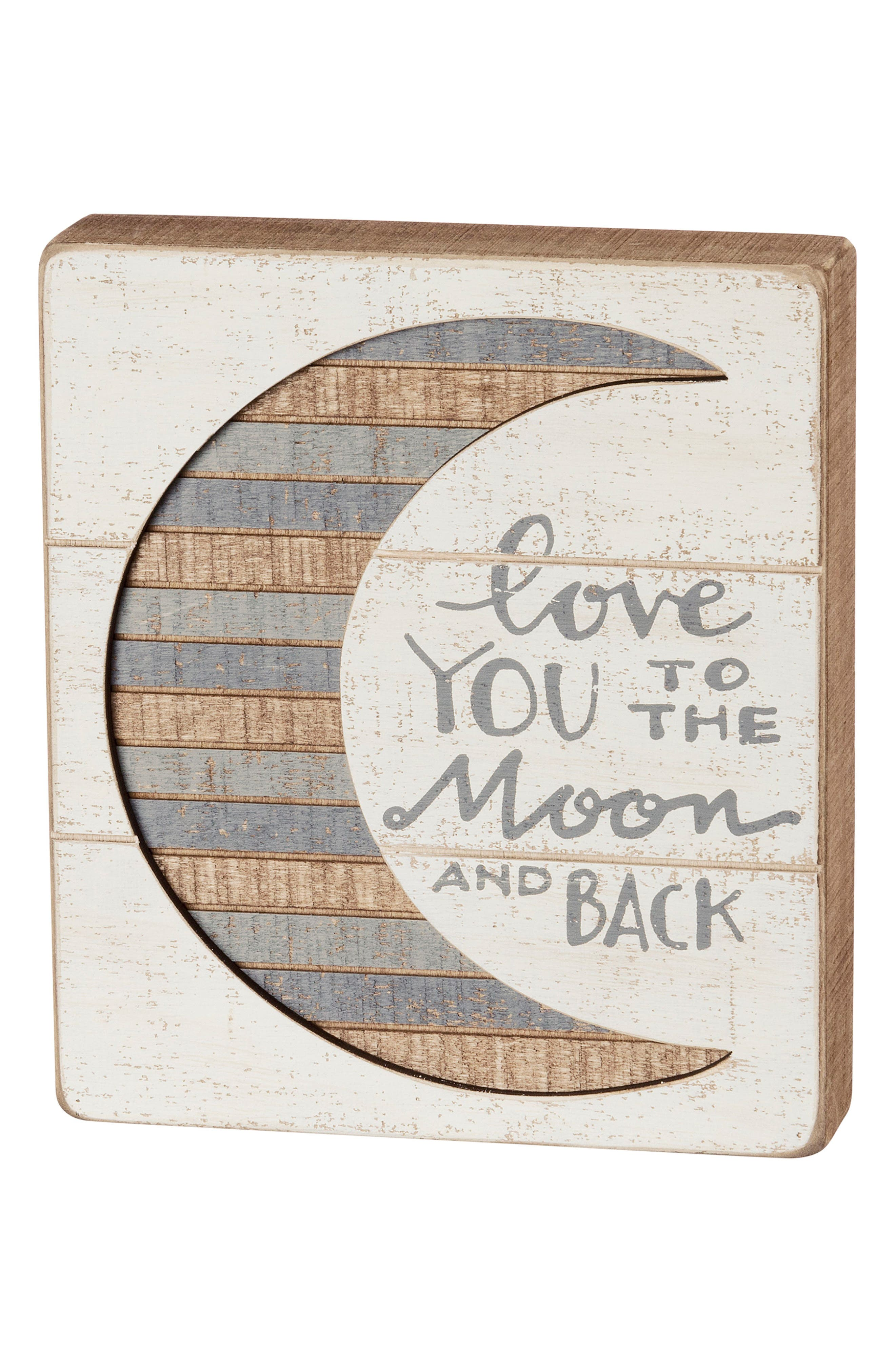 Love You To The Moon & Back Slat Box Sign,                         Main,                         color, White