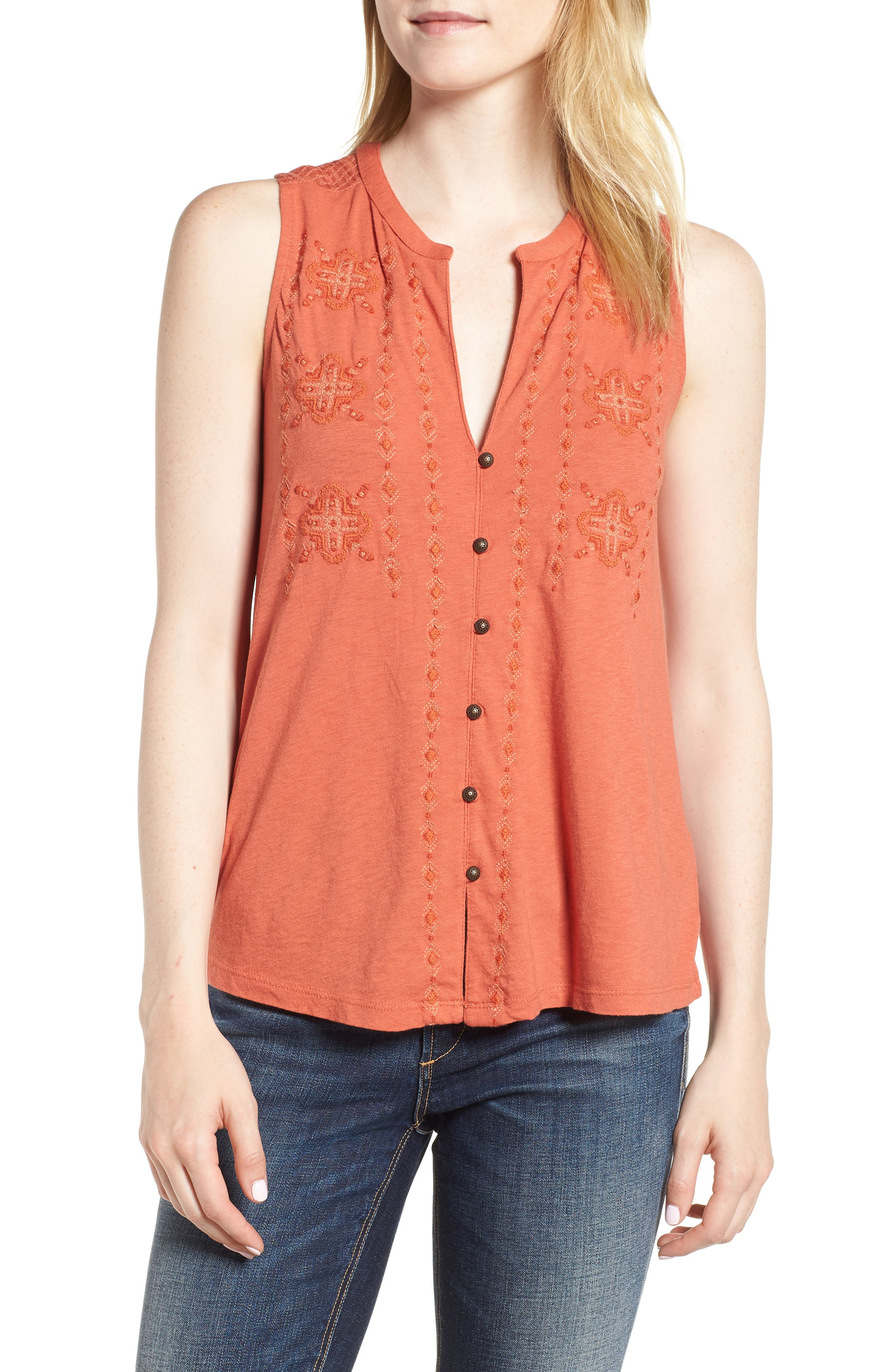 Lucky Brand Embroidered Tank
