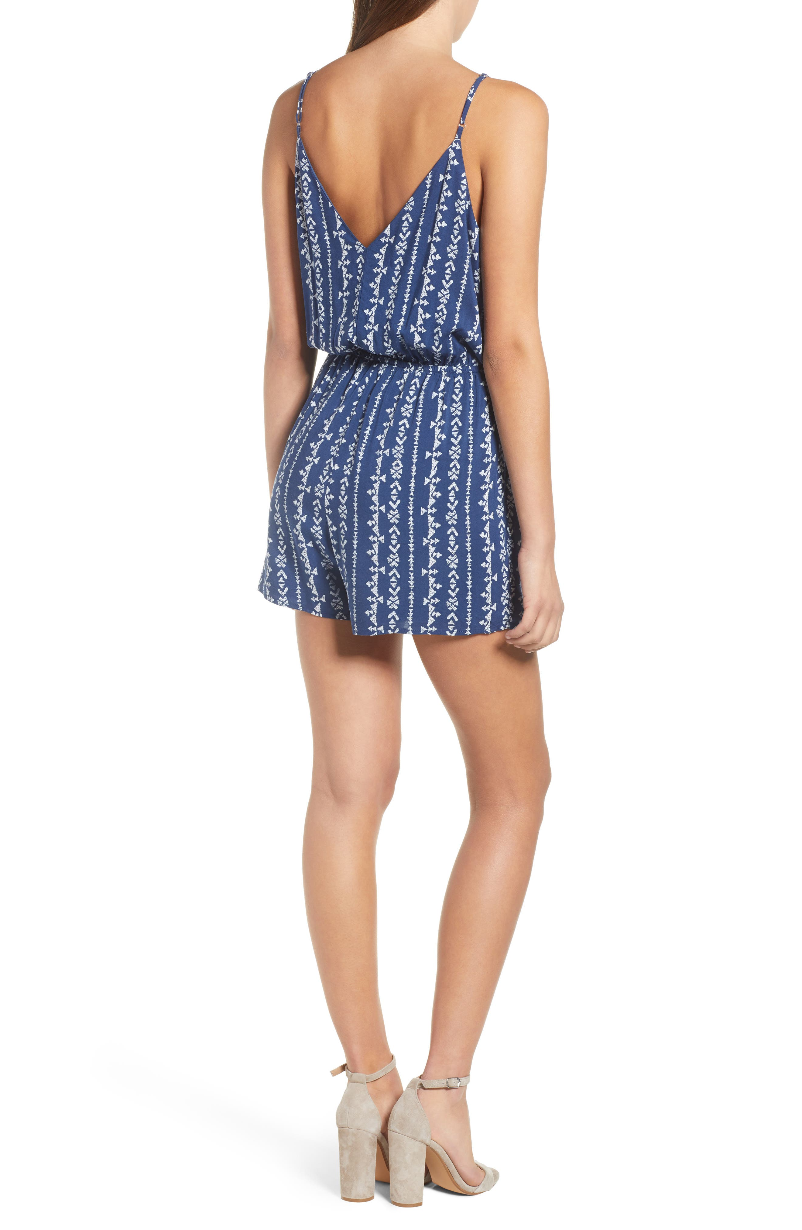 Surplice Romper,                             Alternate thumbnail 2, color,                             Navy Blue Stripe