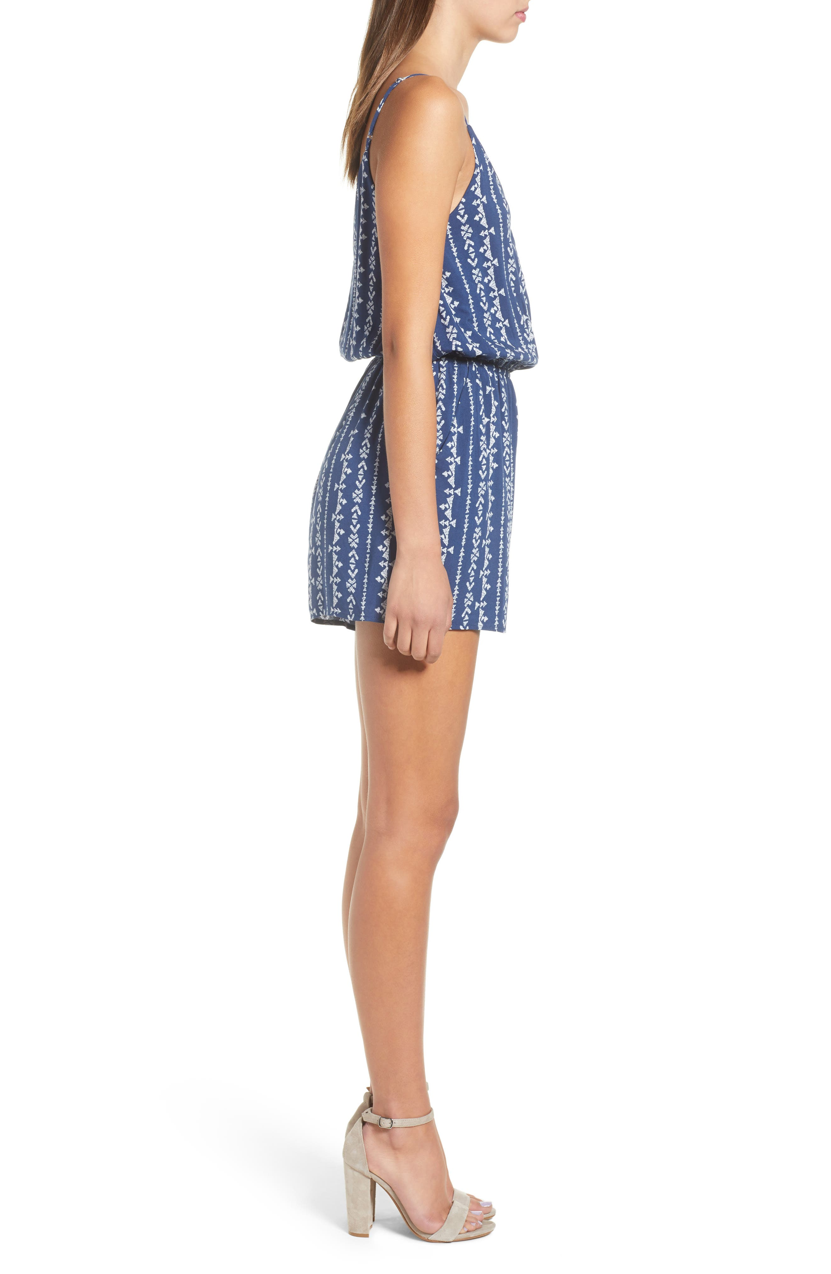 Surplice Romper,                             Alternate thumbnail 6, color,                             Navy Blue Stripe