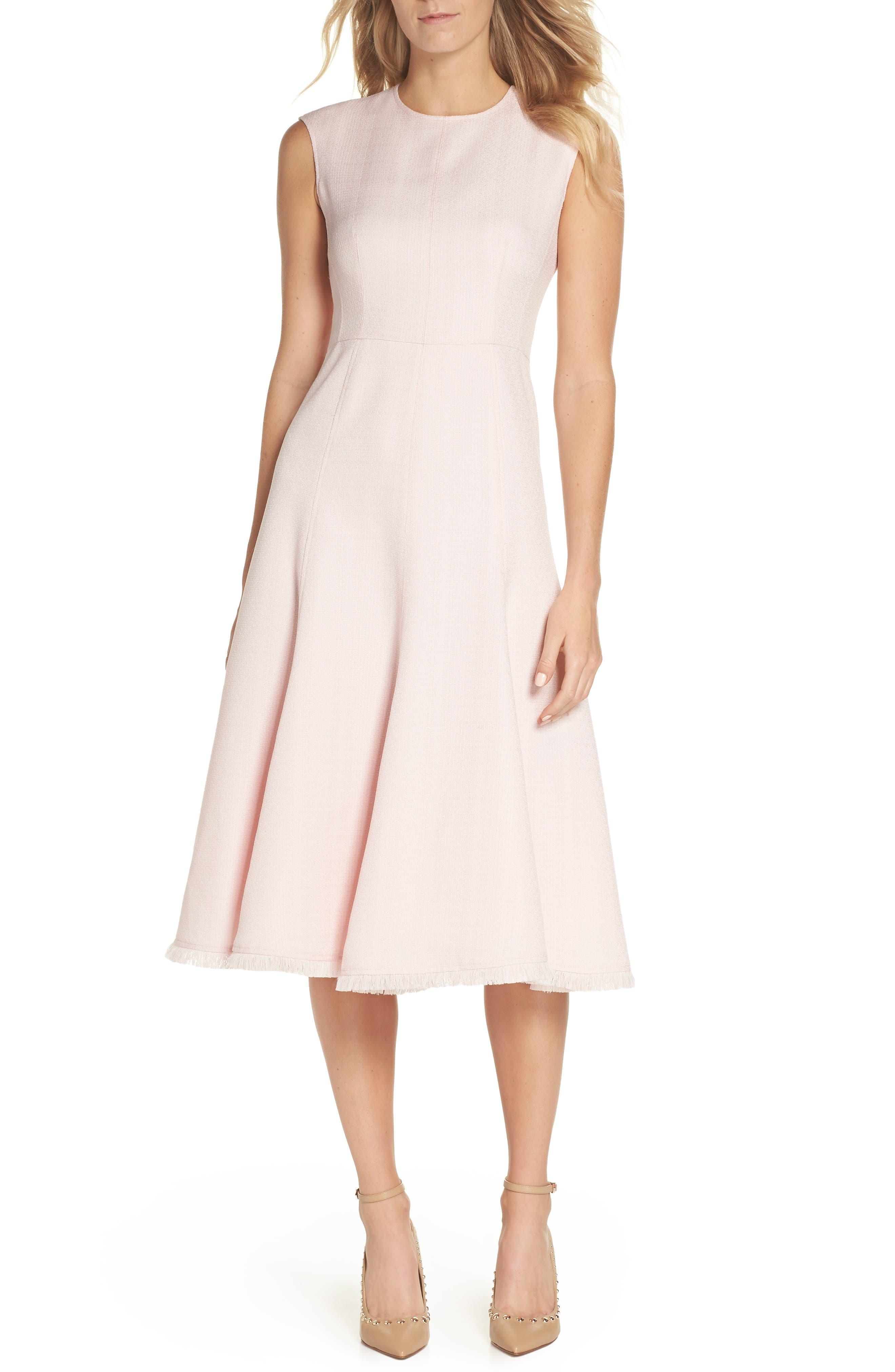 Fringe Hem A-Line Dress,                         Main,                         color, Blush