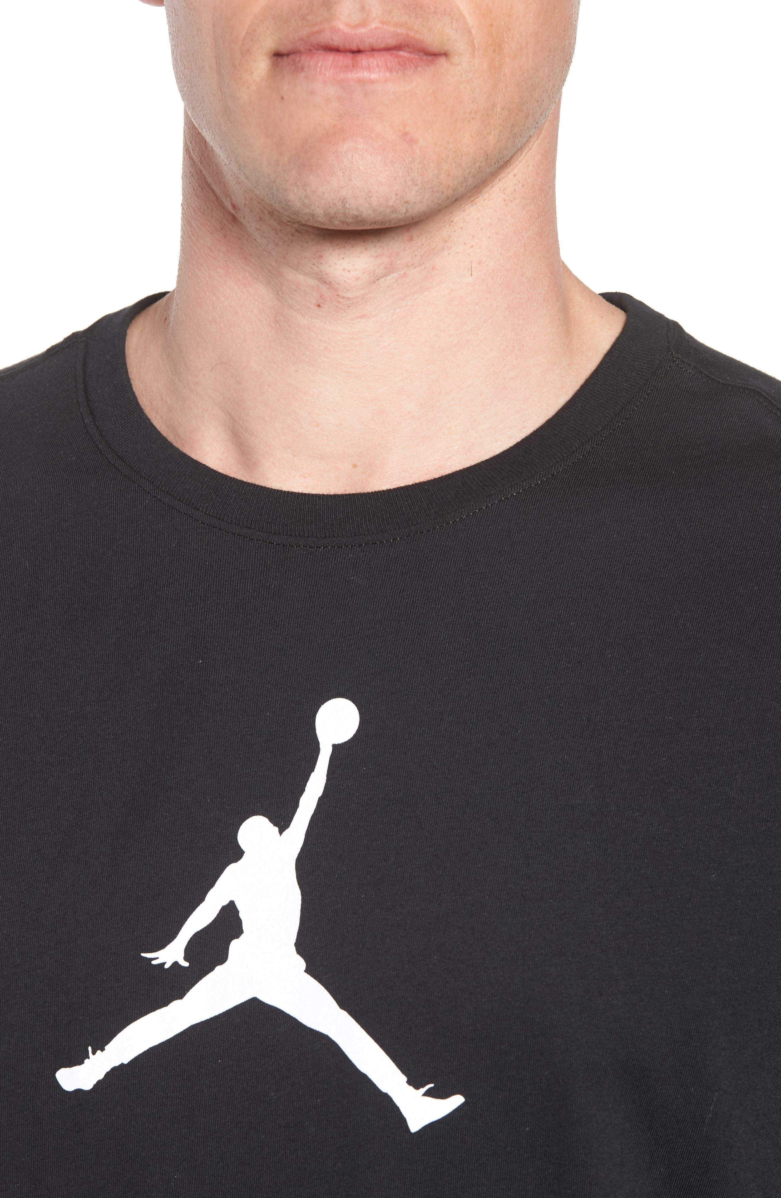 Iconic Jumpman Graphic T-Shirt,                             Alternate thumbnail 4, color,                             Black/ White