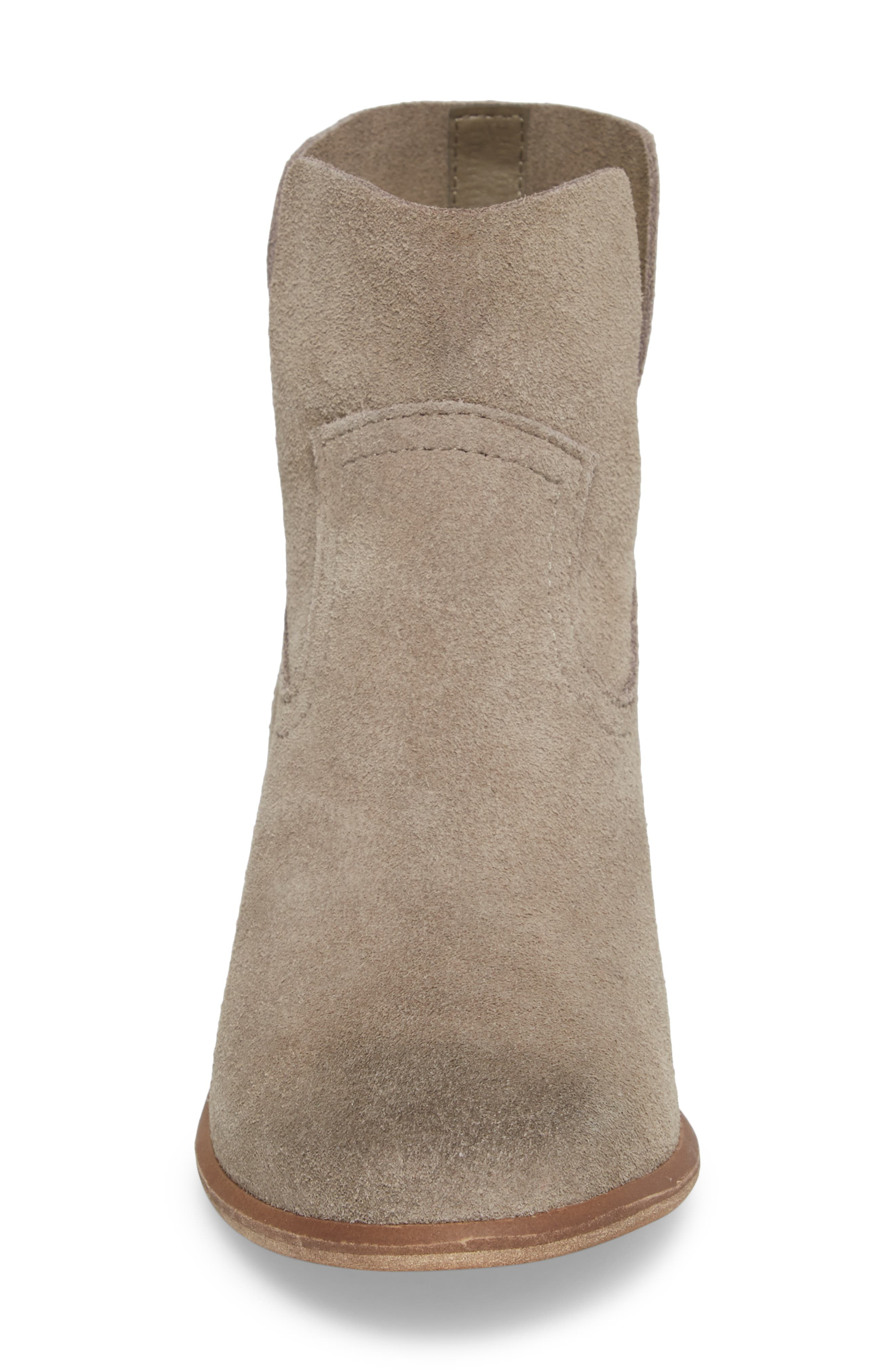 Brice Notched Bootie,                             Alternate thumbnail 4, color,                             Grey Suede