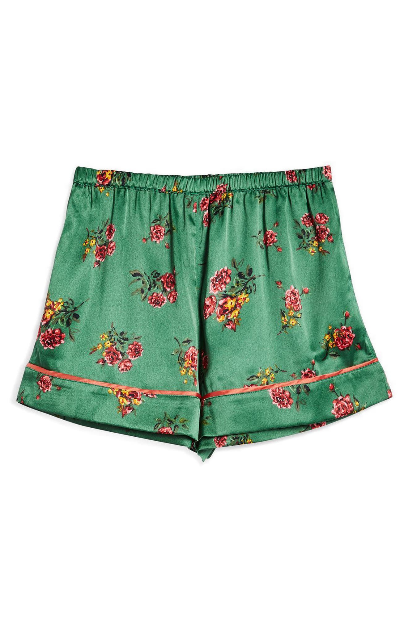 Floral Print Pajama Shorts,                             Alternate thumbnail 3, color,                             Bright Green Multi