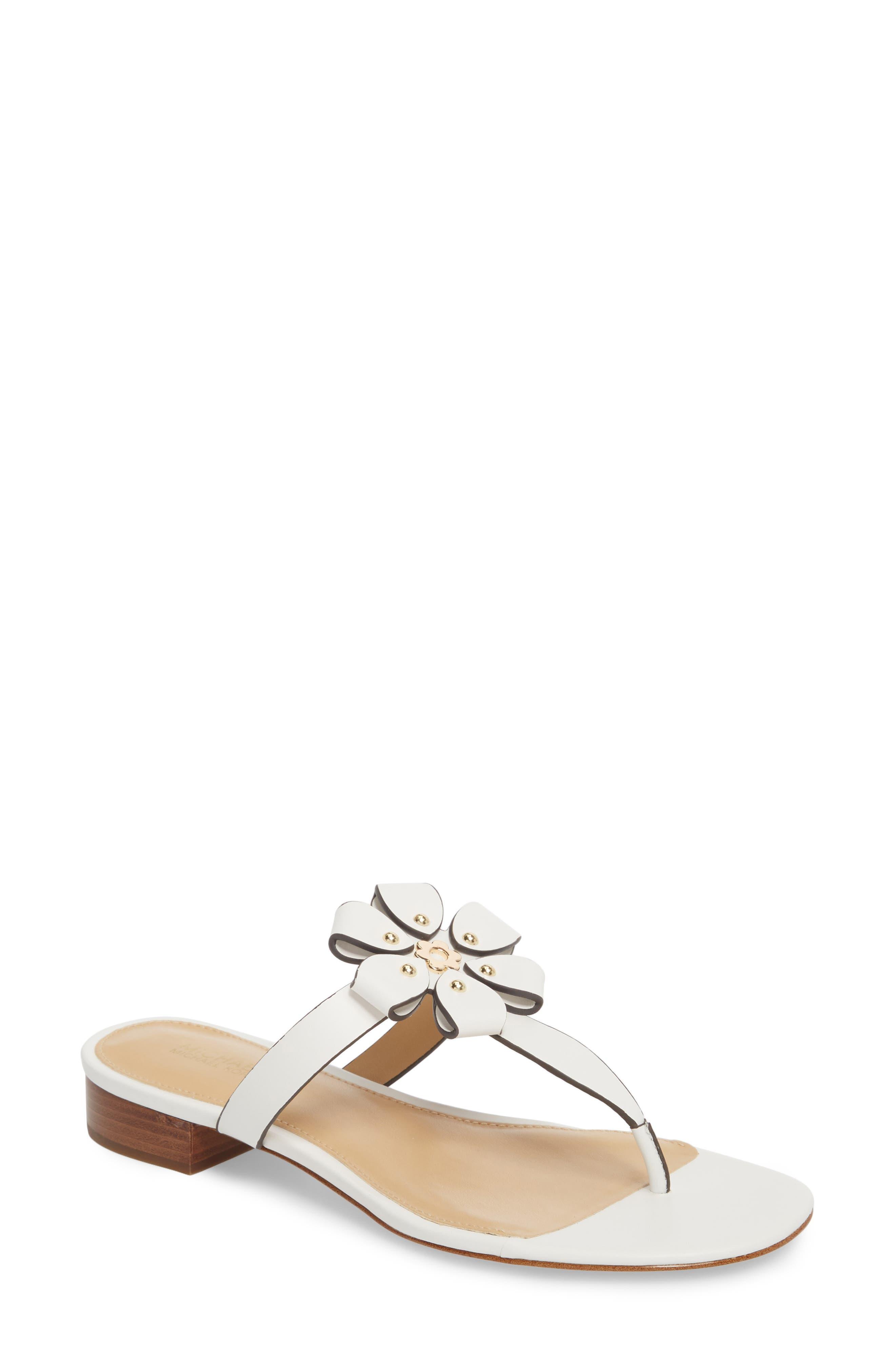 Tara Flip Flop,                             Main thumbnail 1, color,                             Optic White Leather