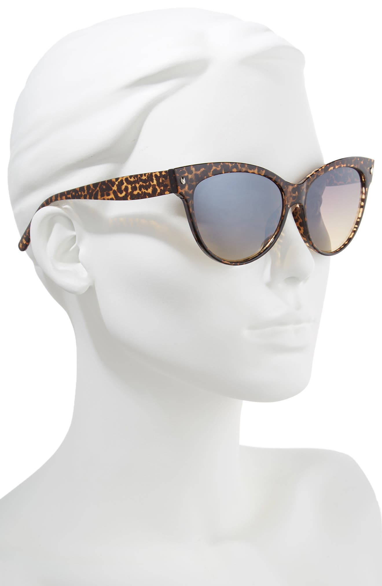 56mm Print Cat Eye Sunglasses,                             Alternate thumbnail 2, color,                             Leopard/ Brown