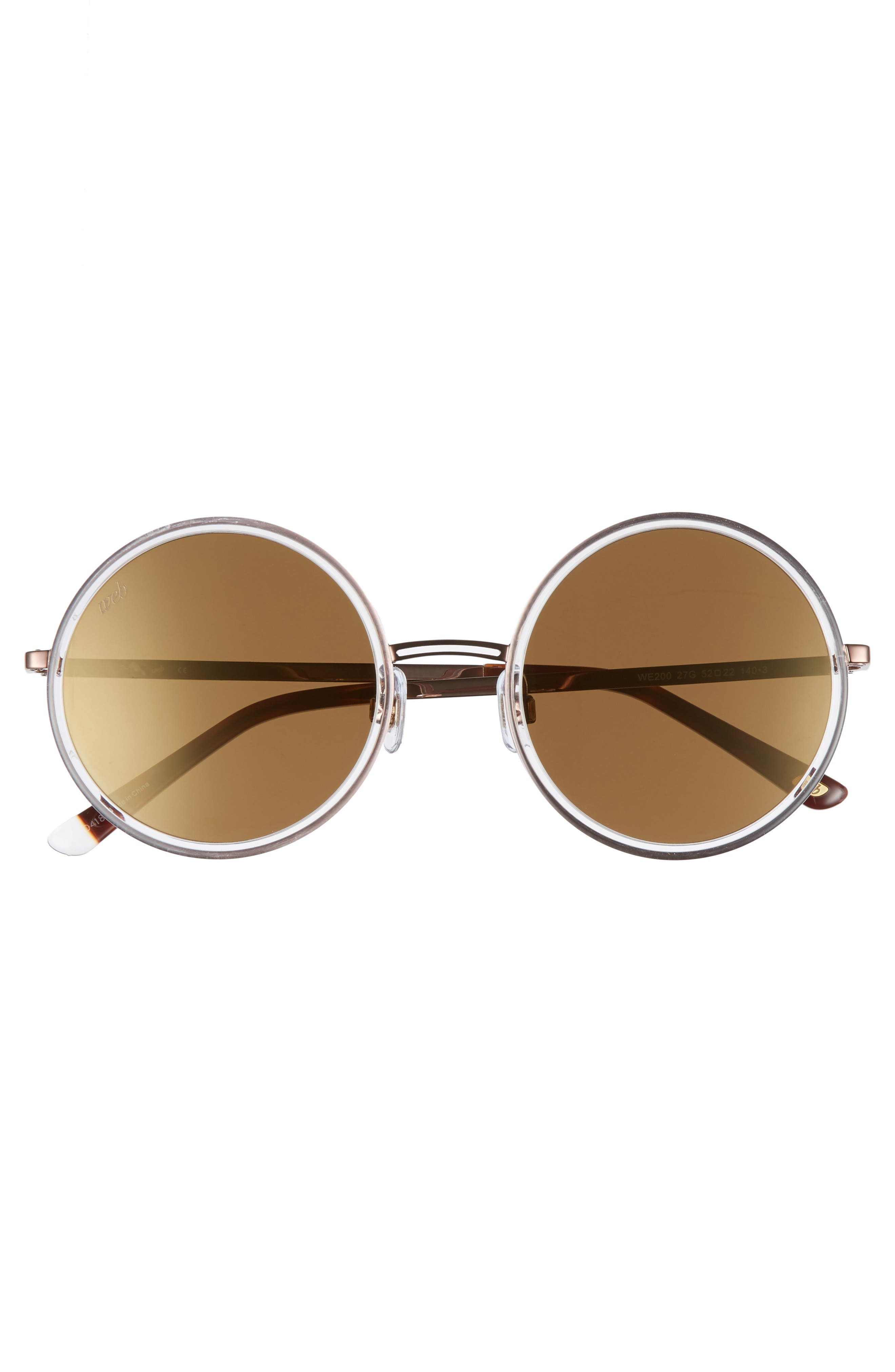 52mm Sunglasses,                             Alternate thumbnail 3, color,                             Crystal/ Brown Mirror