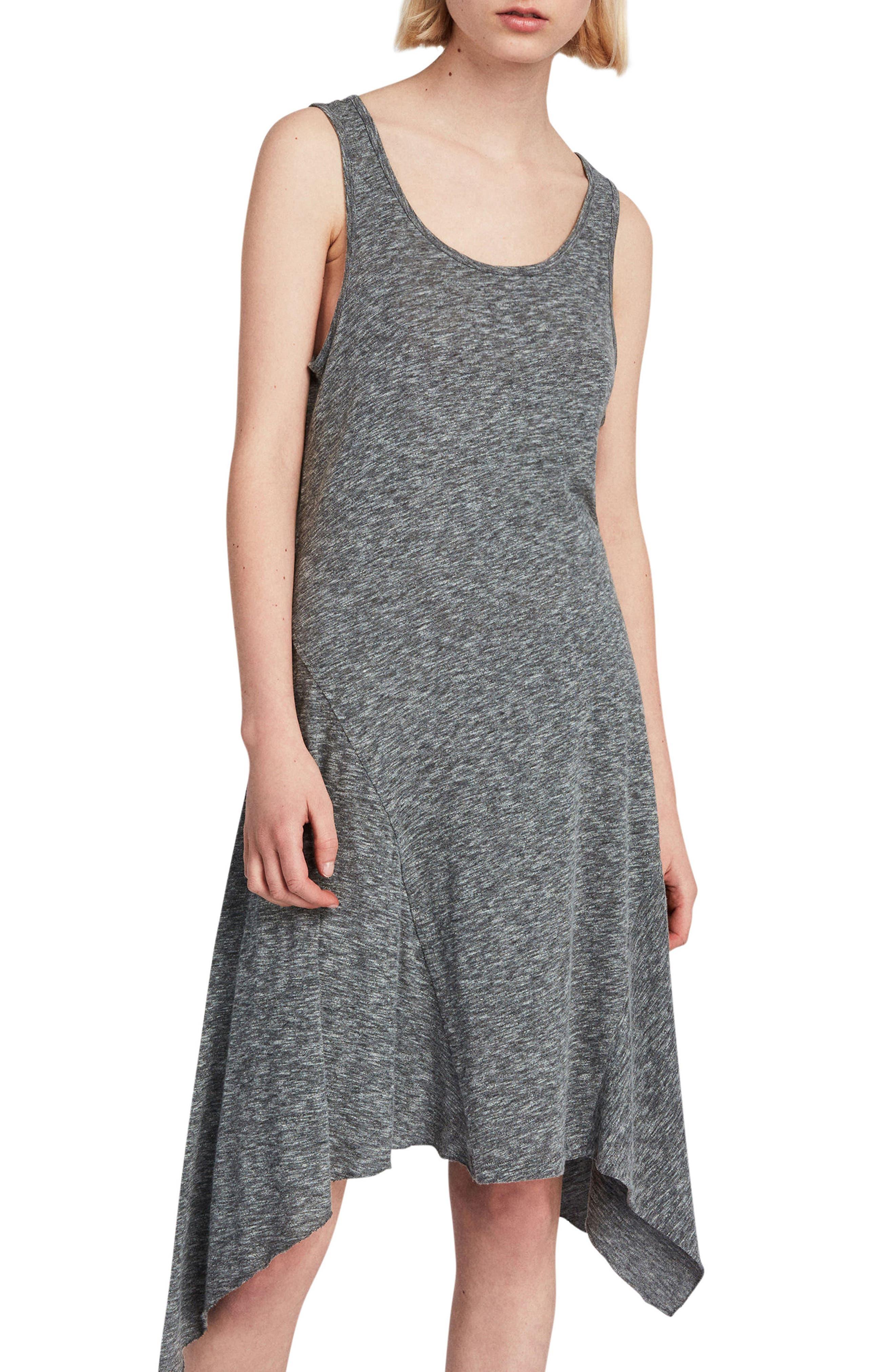 ALLSAINTS Ella Flame Handkerchief Hem Tank Dress