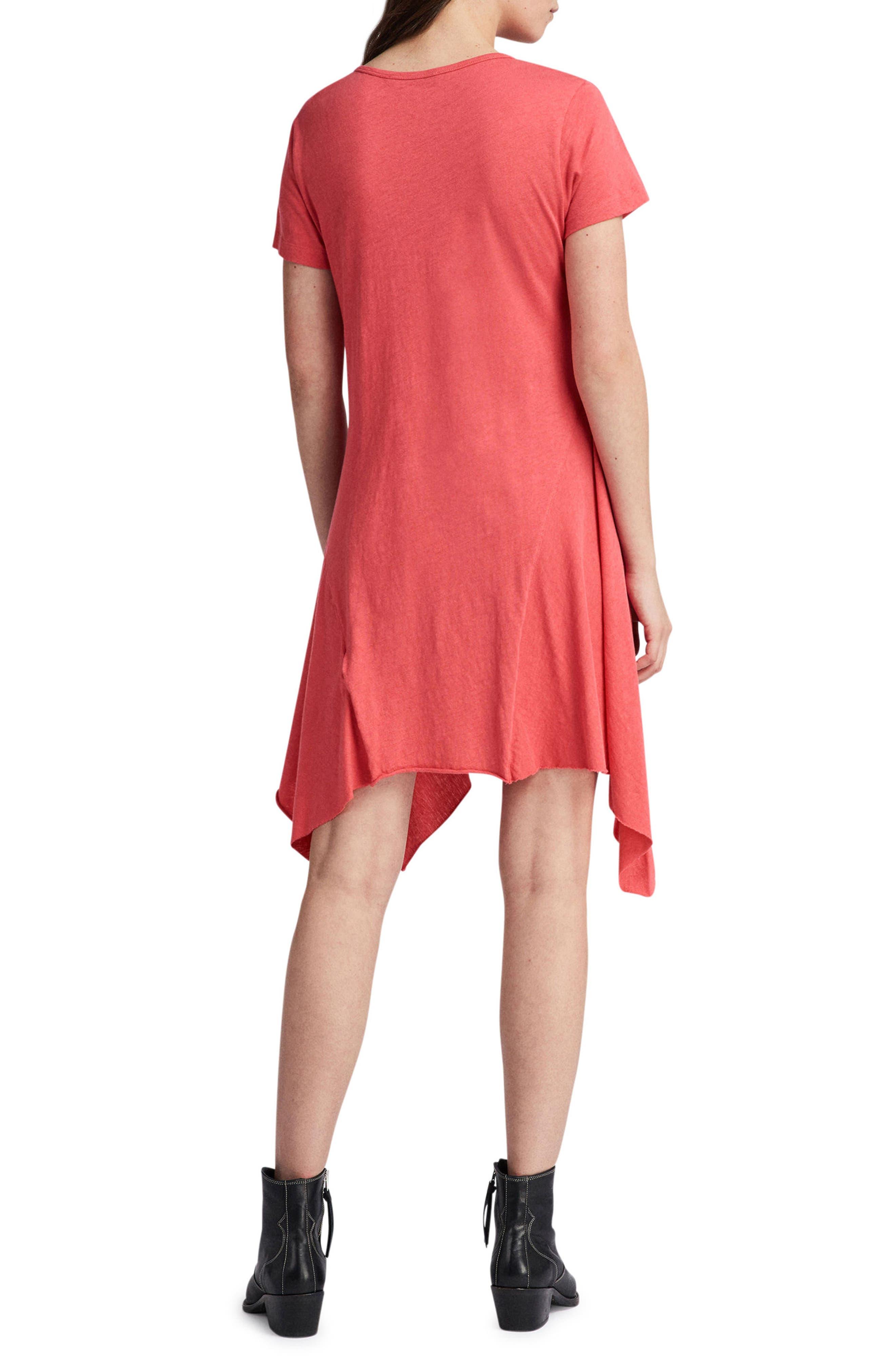 Ella Fifi Handkerchief Hem T-Shirt Dress,                             Alternate thumbnail 2, color,                             Coral Pink