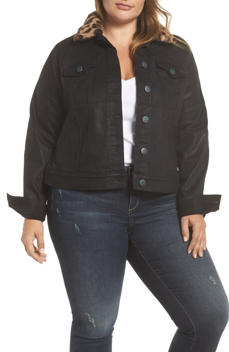 Coated Denim Jacket with Removable Faux Fur Collar