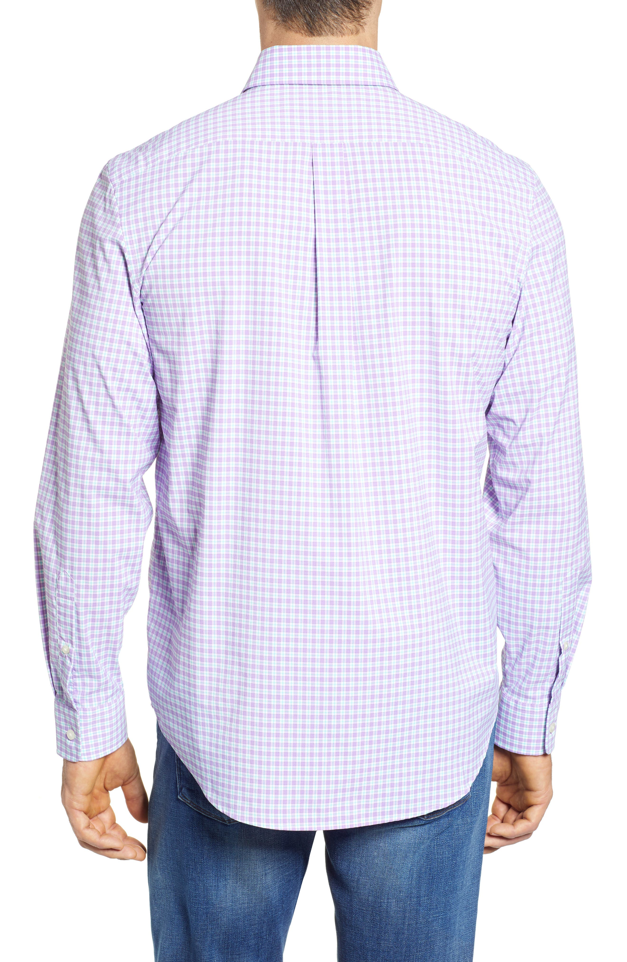 Oyster Pond Slim Fit Plaid Sport Shirt,                             Alternate thumbnail 3, color,                             Sea Urchin