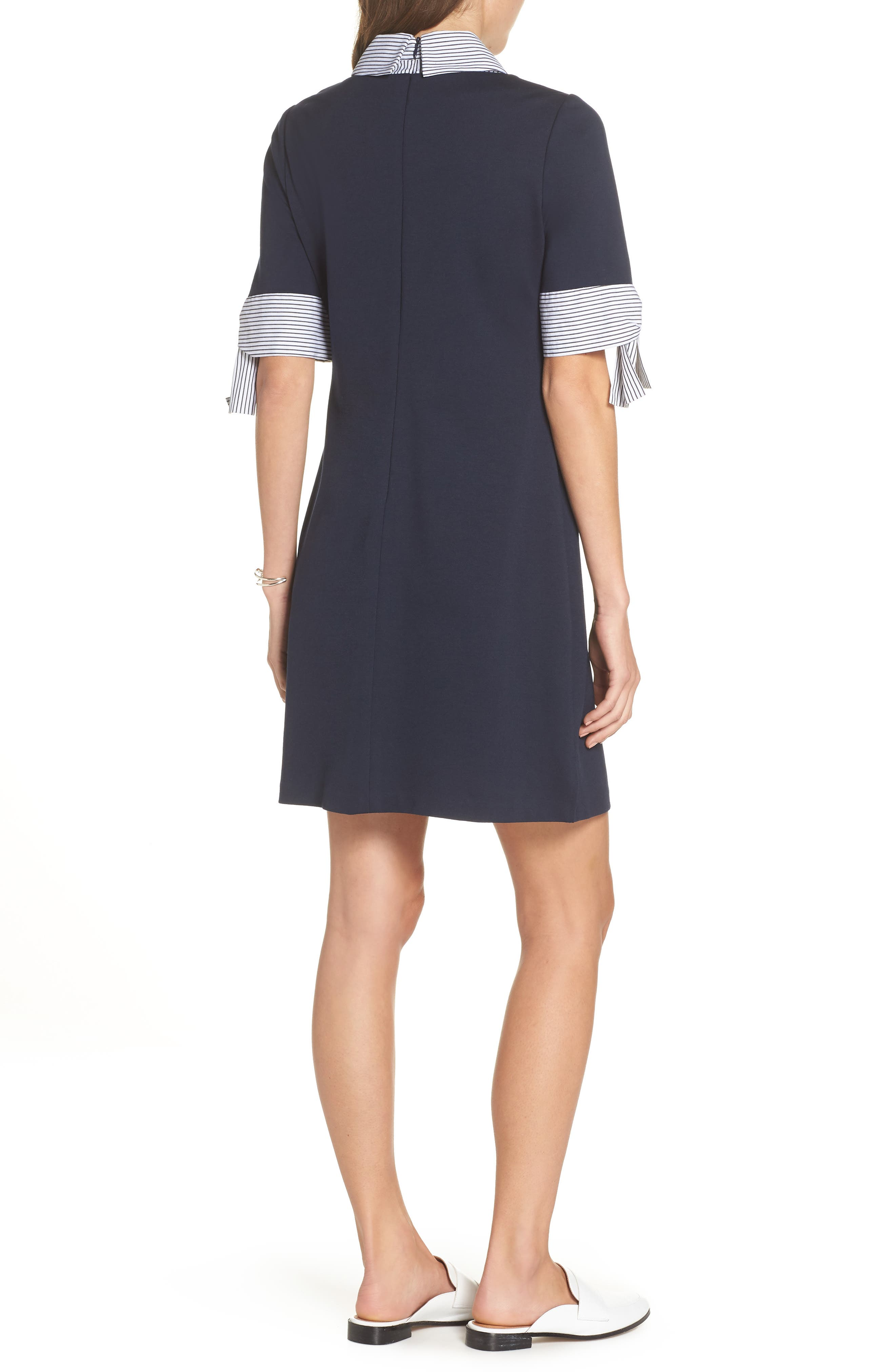 Layered Look Ponte Shift Dress,                             Alternate thumbnail 2, color,                             Navy Ivory
