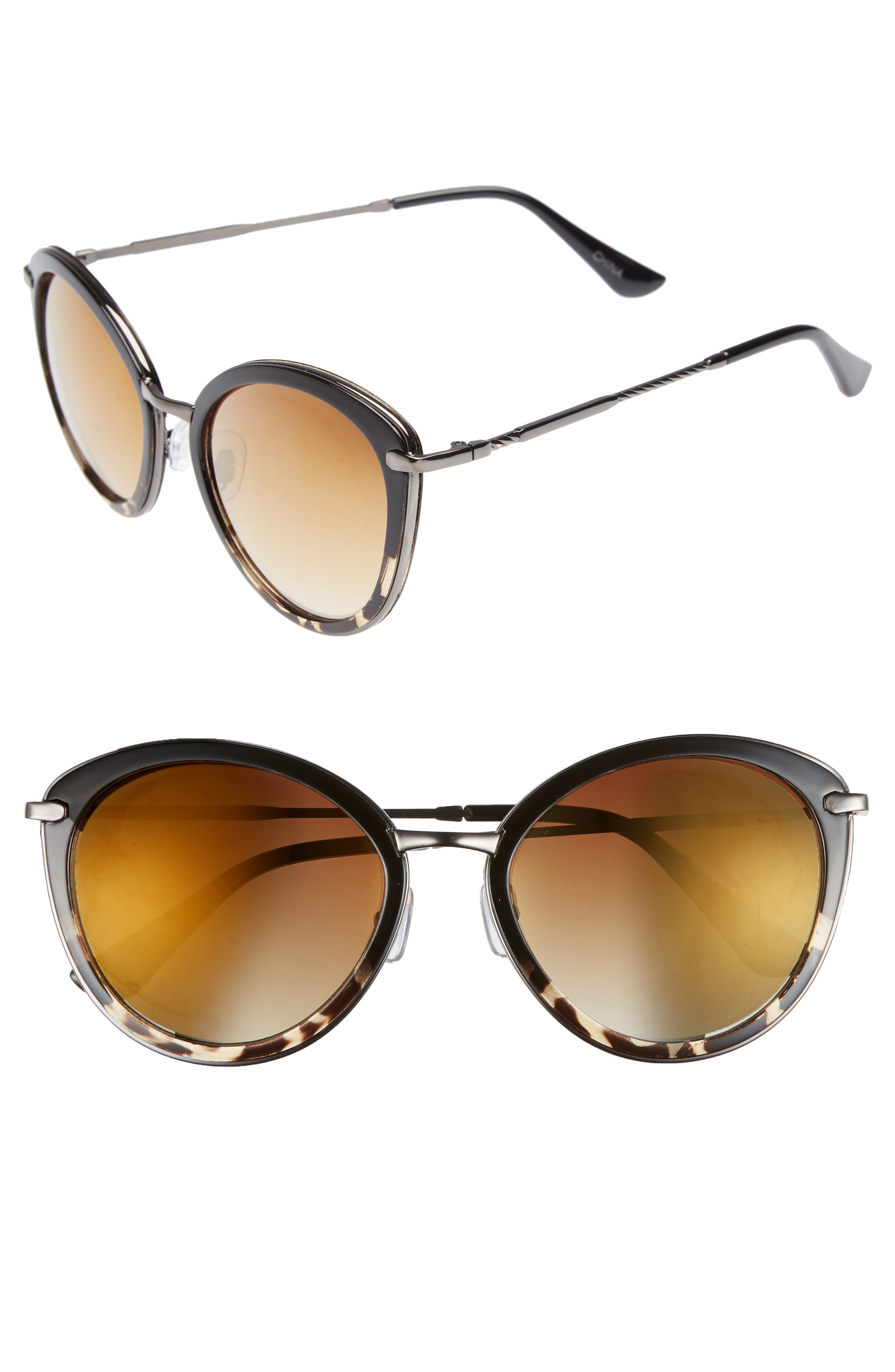 54mm Round Sunglasses,                         Main,                         color, Black/ Tort