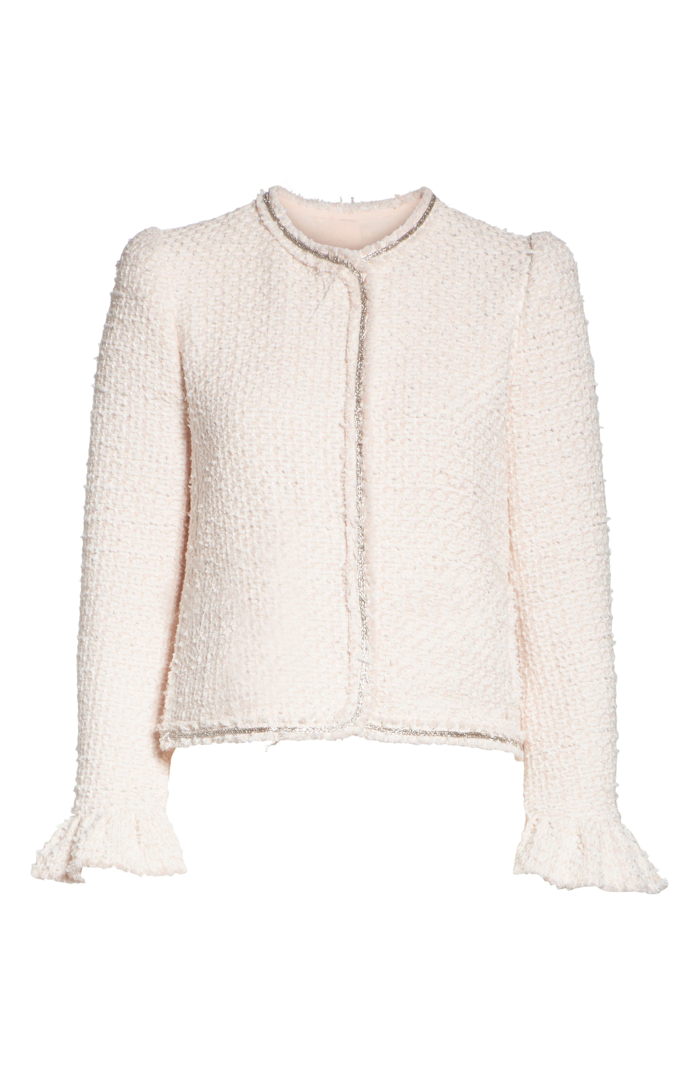 Ruffle Sleeve Tweed Jacket,                             Alternate thumbnail 6, color,                             Powder Pink Combo