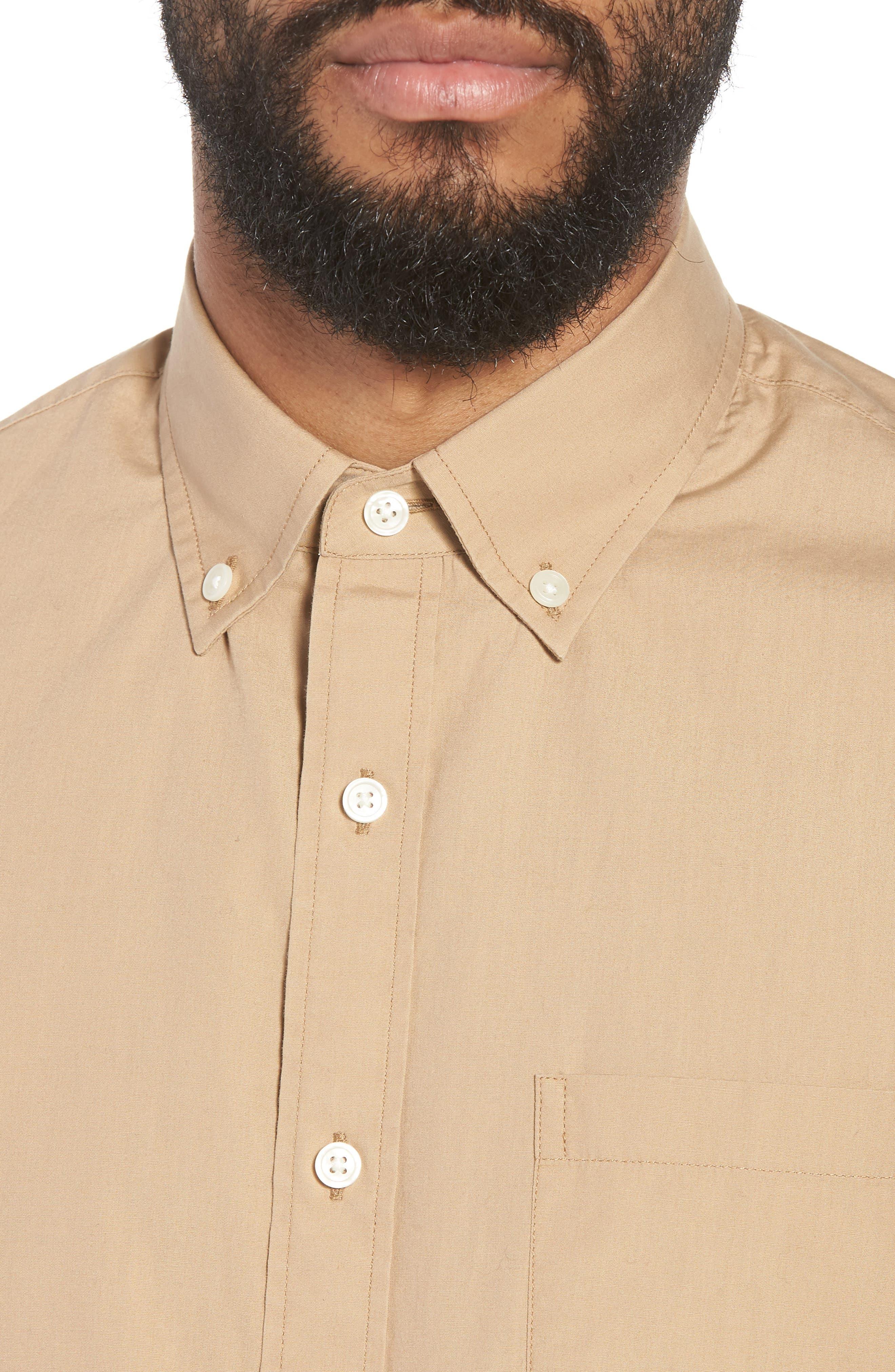 Slim Fit Solid Short Sleeve Sport Shirt,                             Alternate thumbnail 4, color,                             Khaki