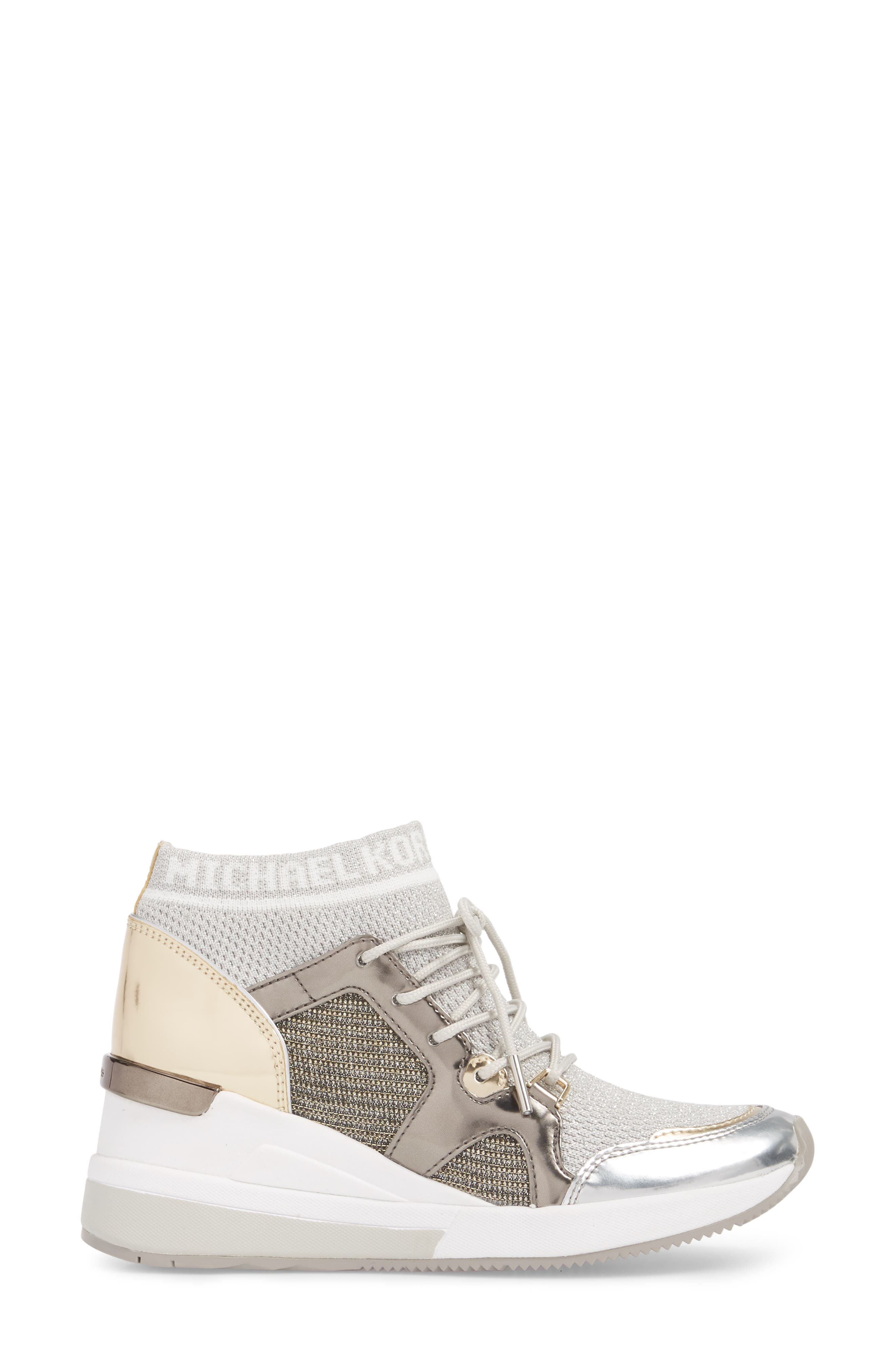 Hilda Wedge Sneaker,                             Alternate thumbnail 3, color,                             Silver Knit Fabric