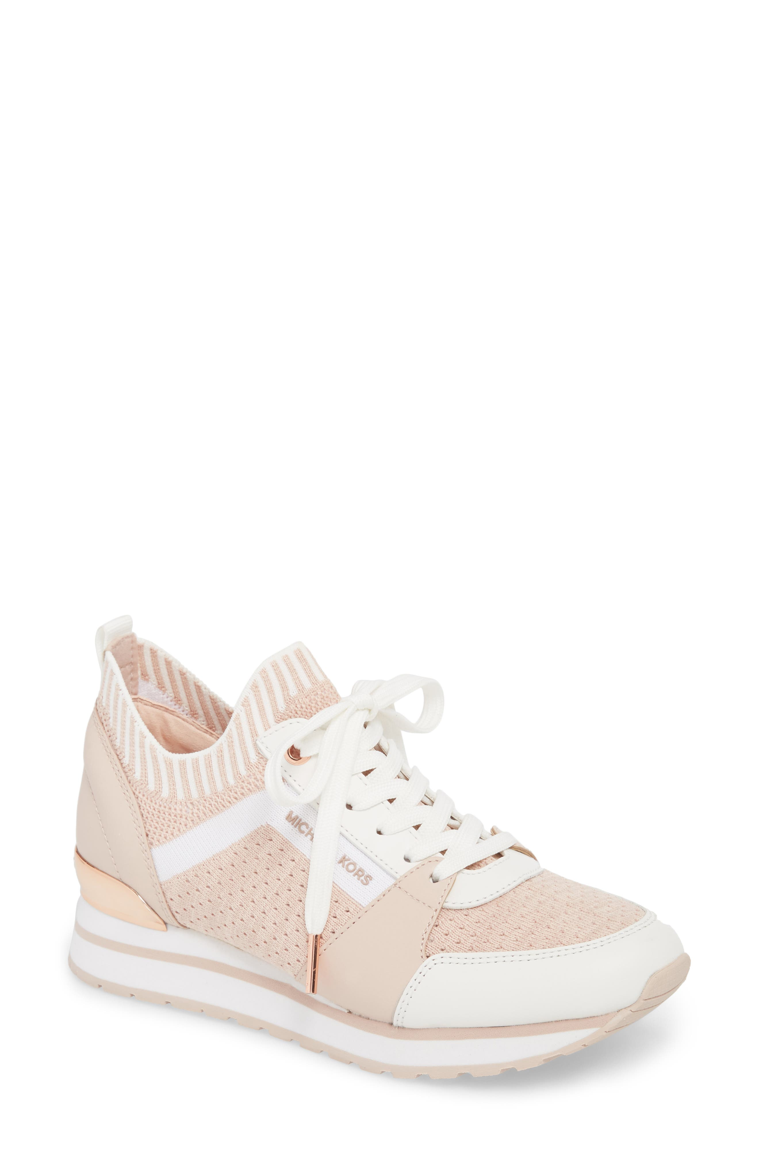 Billie Perforated Sneaker,                         Main,                         color, Soft Pink Fabric