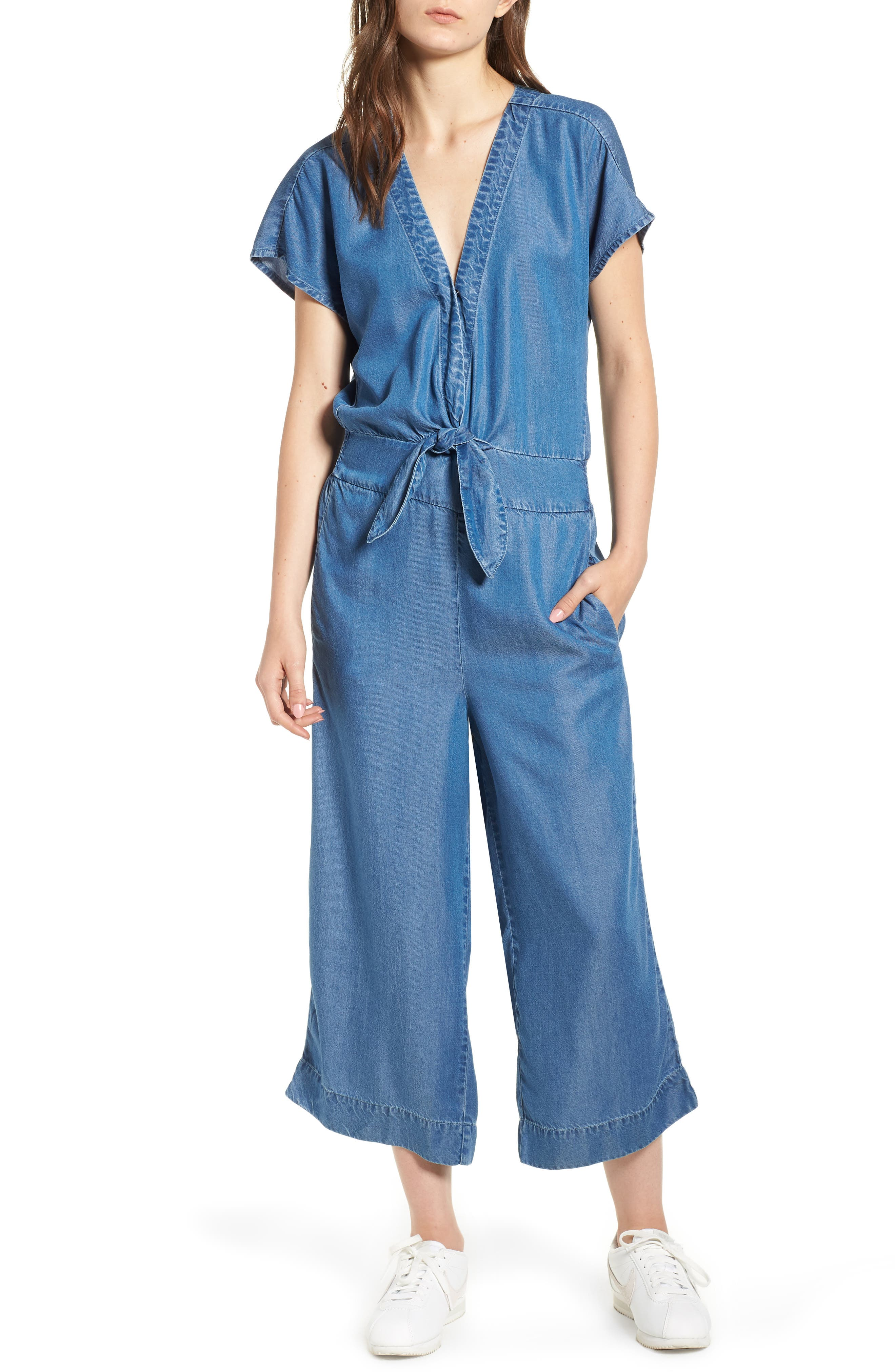 Desert Tie Waist Chambray Jumpsuit,                             Main thumbnail 1, color,                             Med Wash