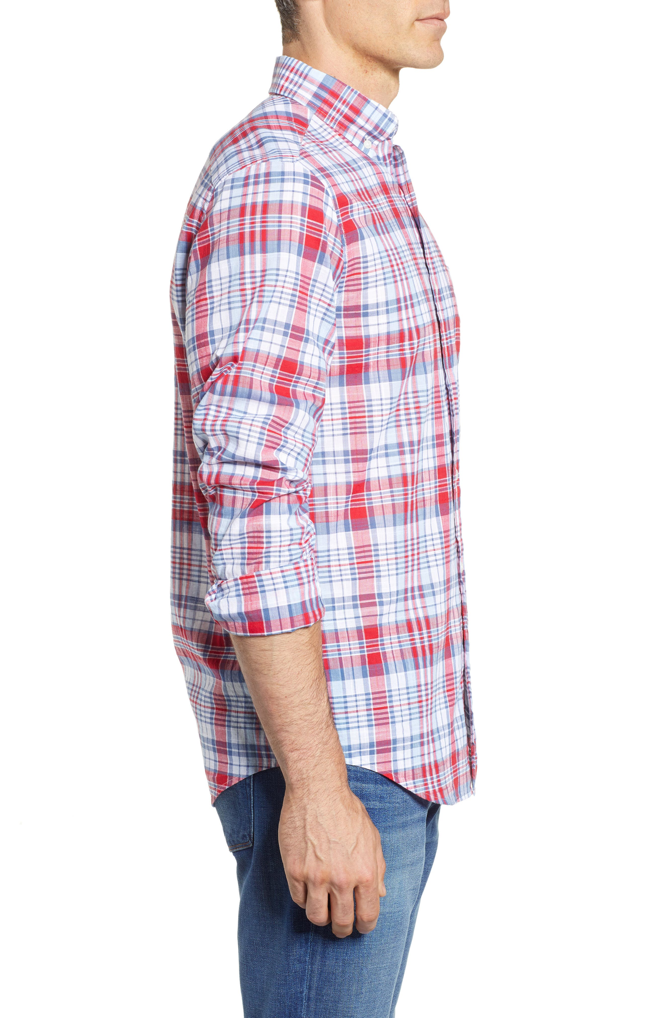 Firework Plaid Tucker Classic Fit Sport Shirt,                             Alternate thumbnail 4, color,                             Lighthouse Red