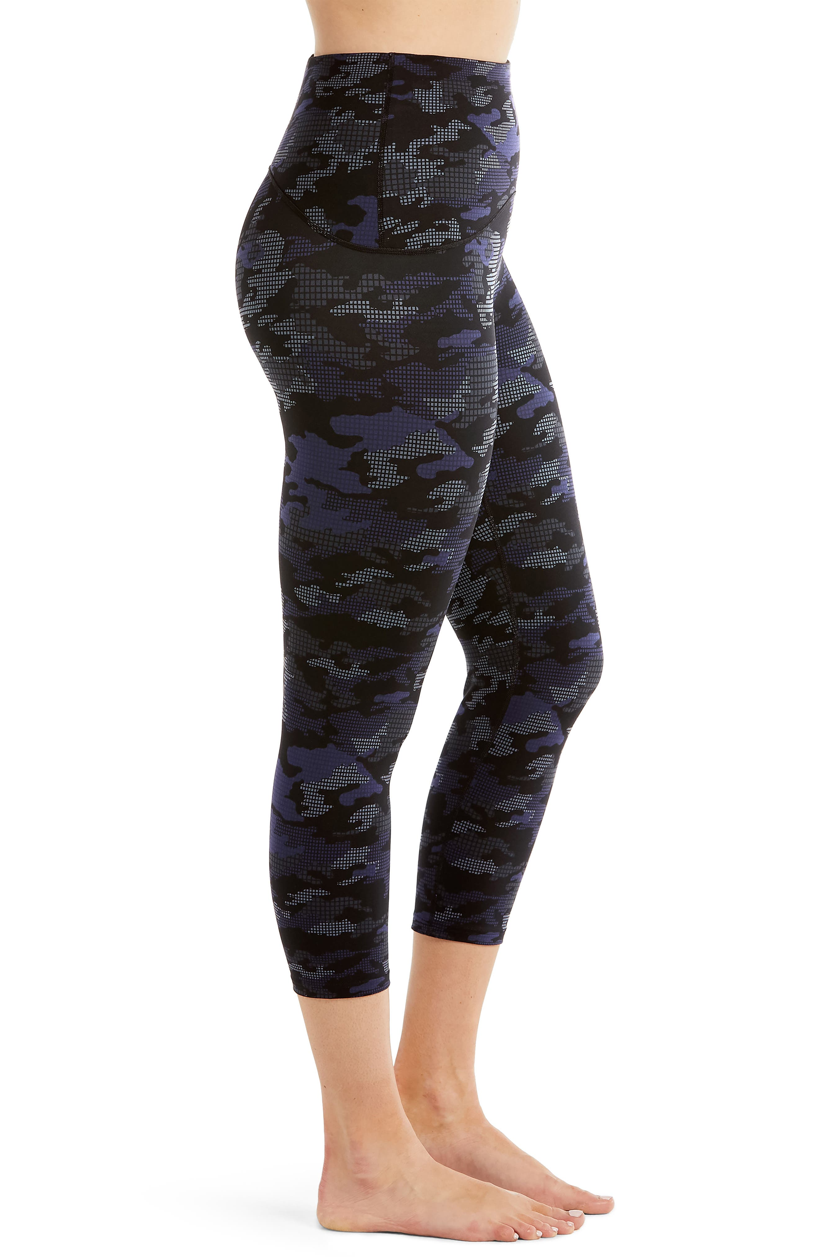 Active Print Crop Leggings,                             Alternate thumbnail 4, color,                             Geo Blue Camo