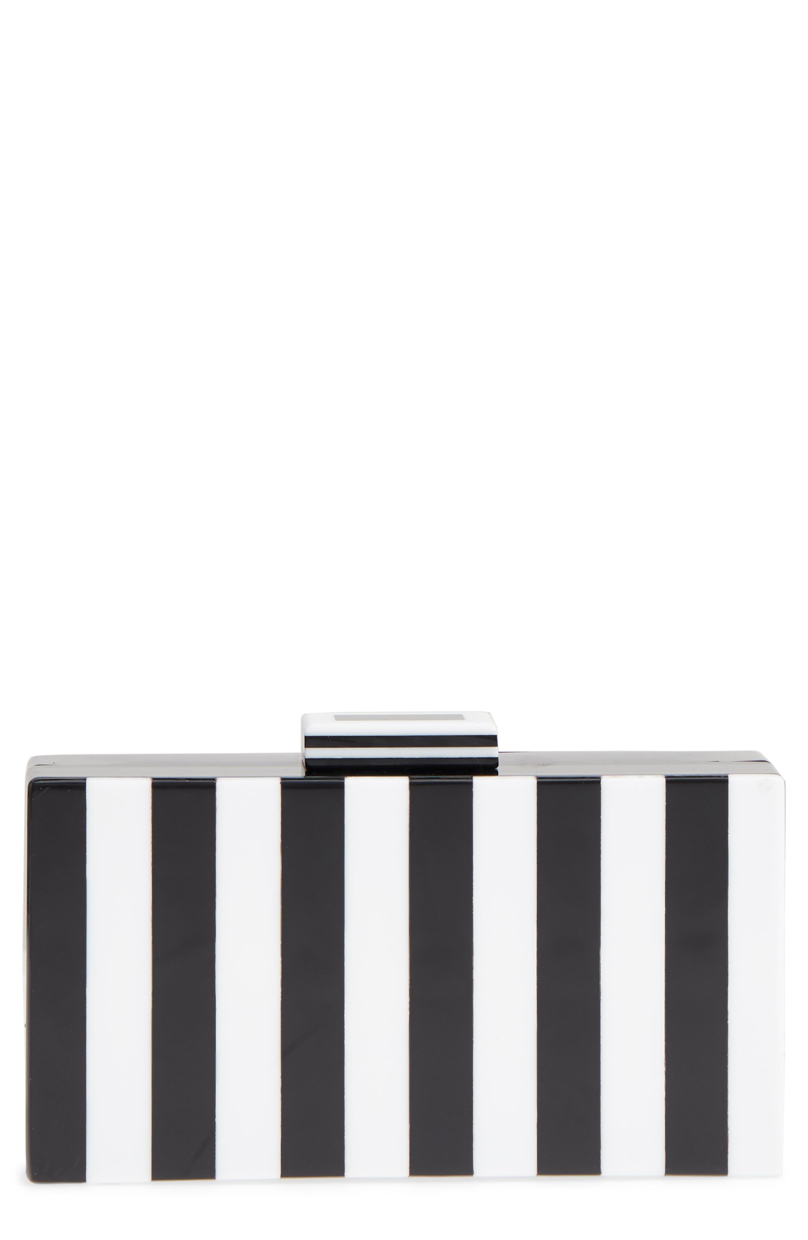 Pippa Stripe Box Clutch,                             Main thumbnail 1, color,                             White Black
