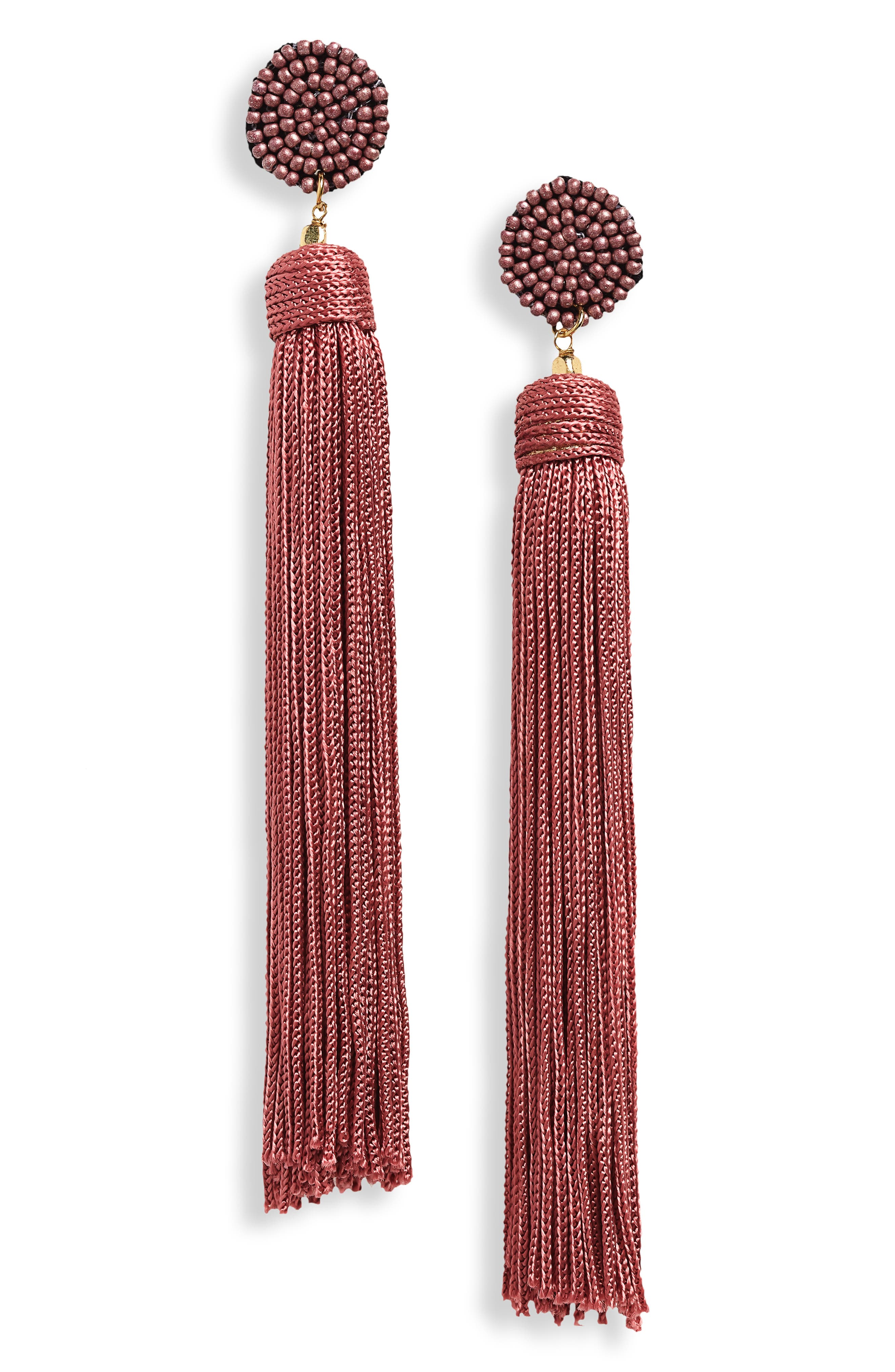 Nylon Tassel Earrings,                         Main,                         color, Dusty Rose