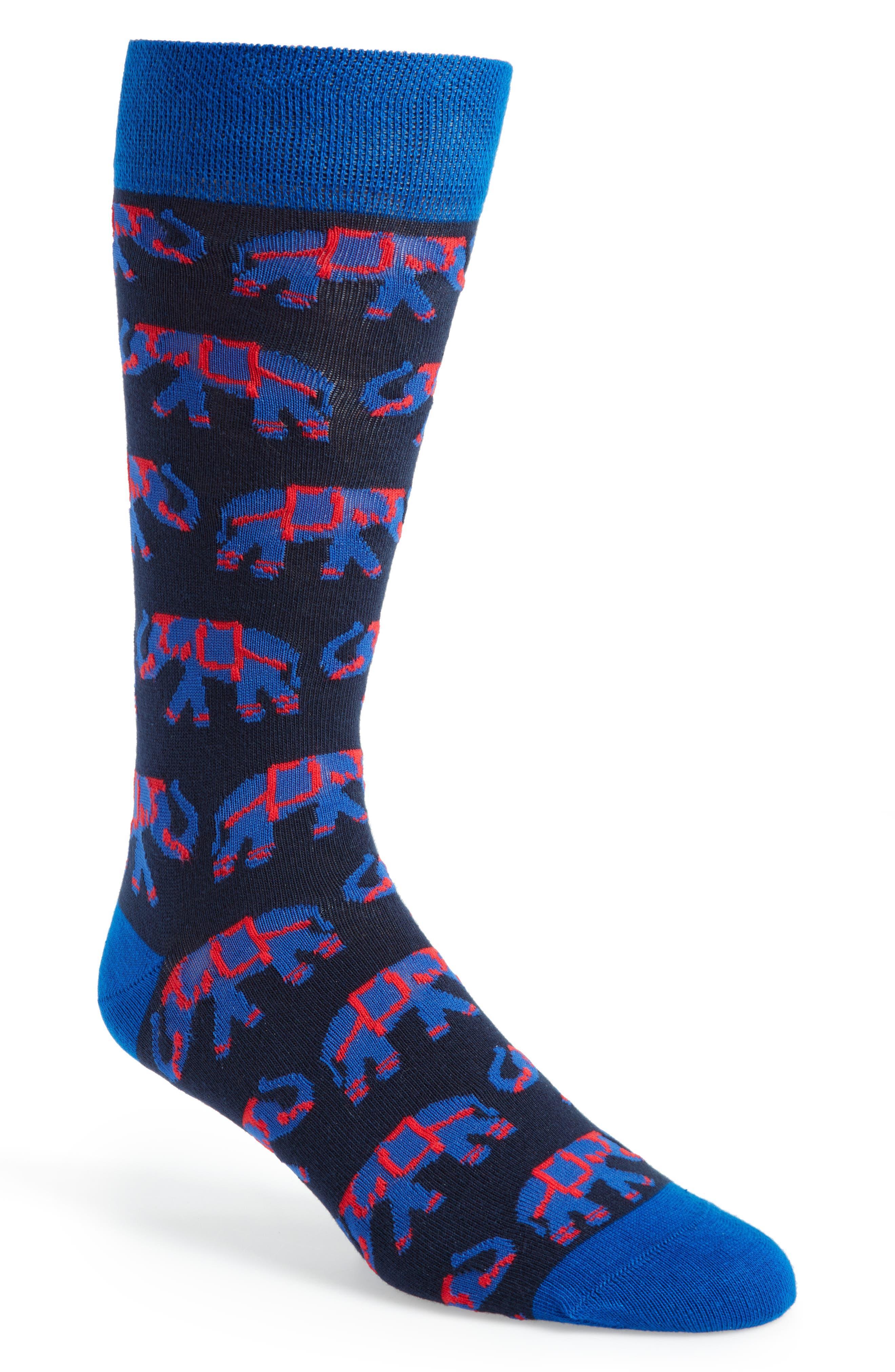 Elephant Socks,                         Main,                         color, Navy
