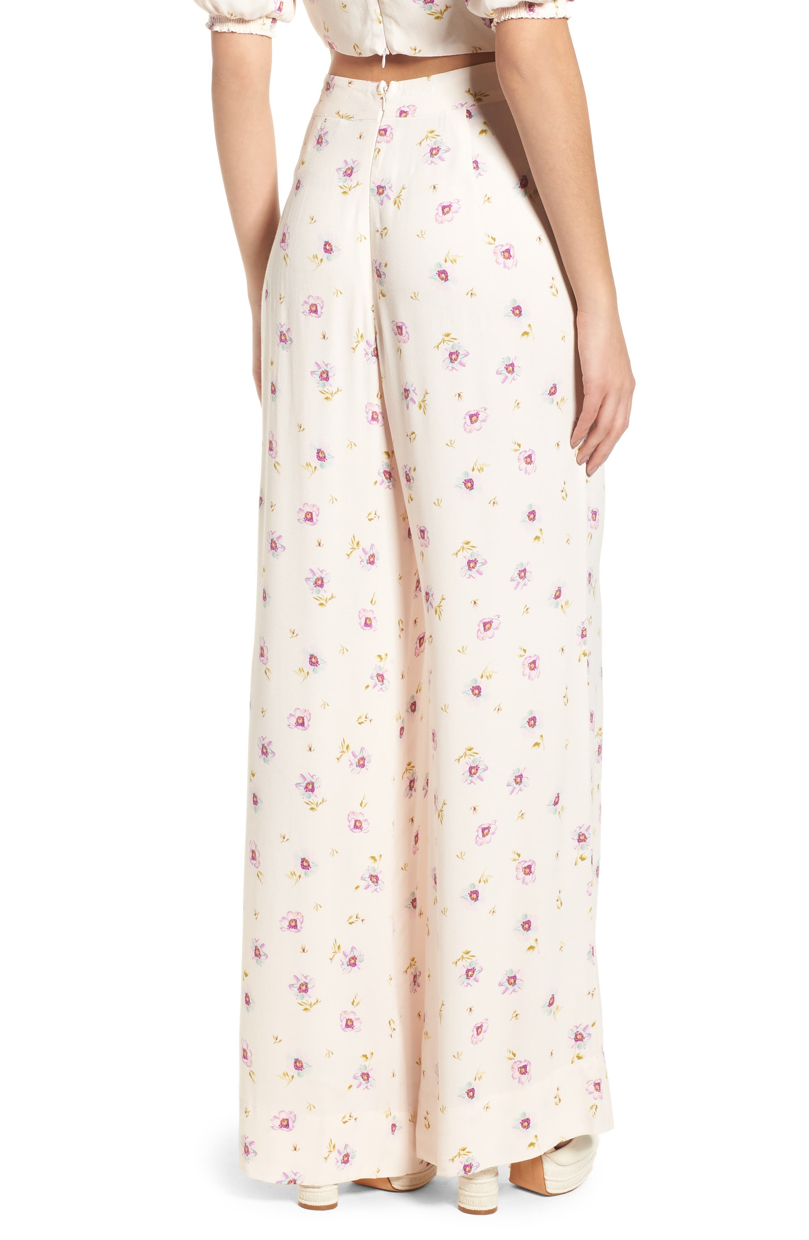 Carter High Waist Wide Leg Pants,                             Alternate thumbnail 3, color,                             Lilac Floral