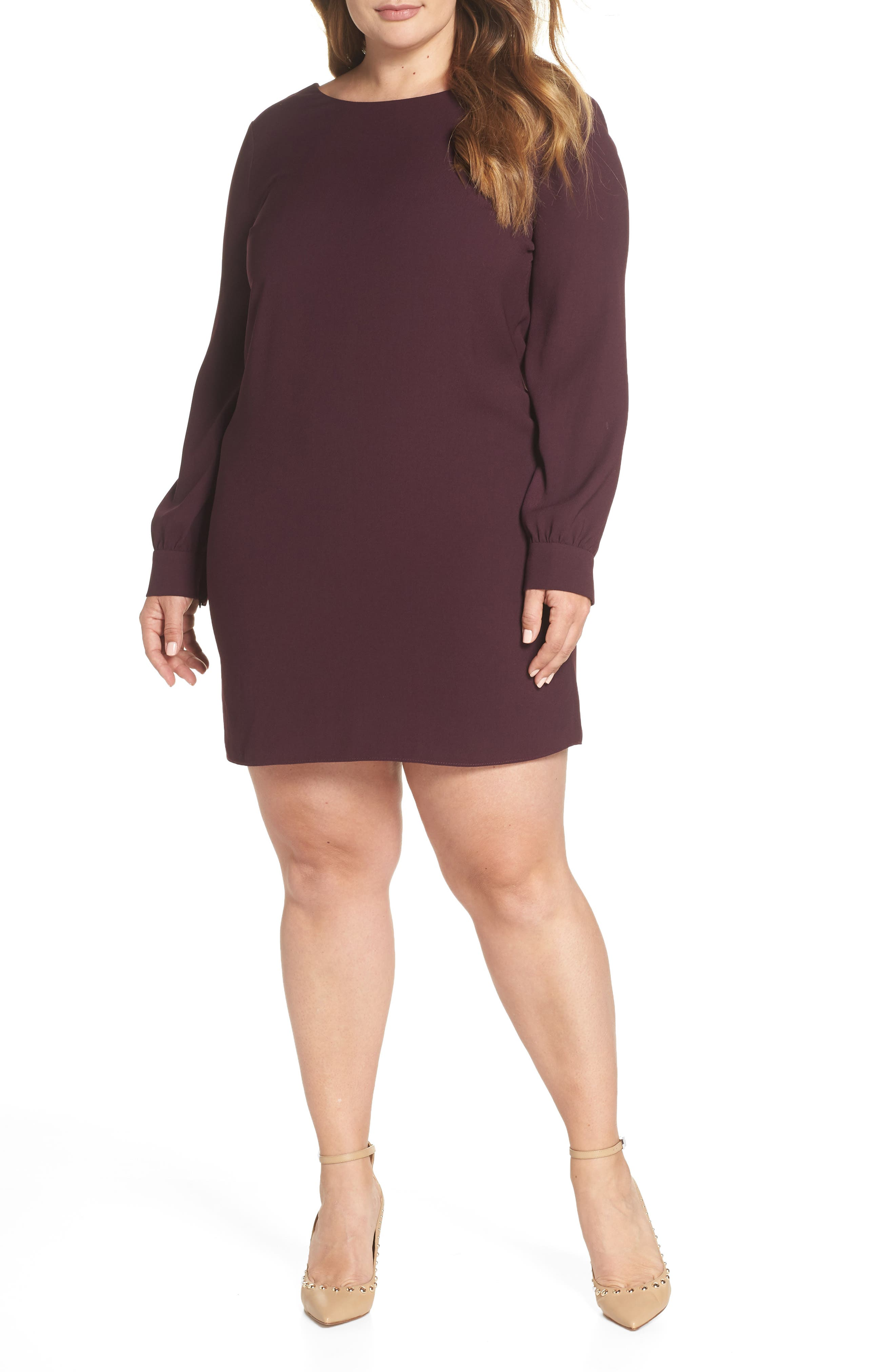 V-Back Shift Dress,                             Alternate thumbnail 2, color,                             Burgundy Stem