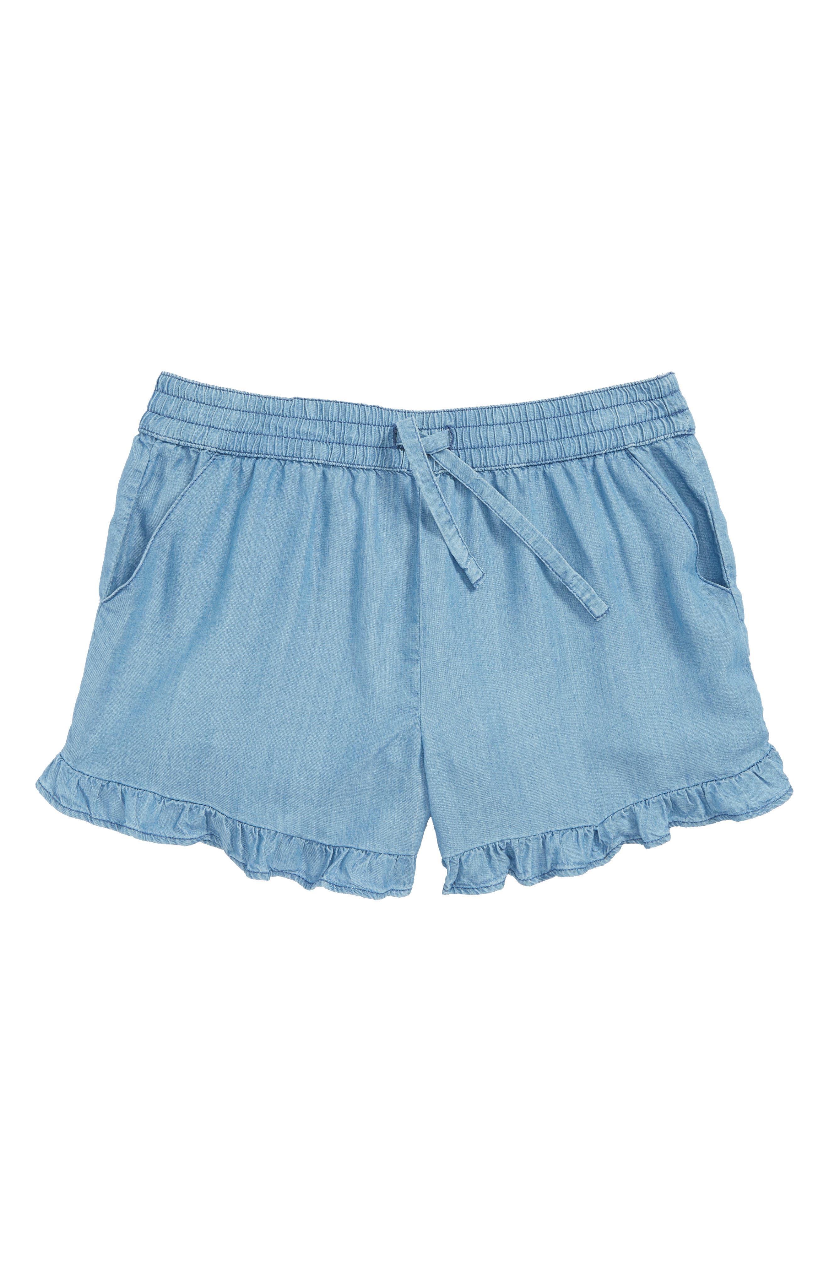 Ruffle Chambray Shorts,                             Main thumbnail 1, color,                             River Blue Wash
