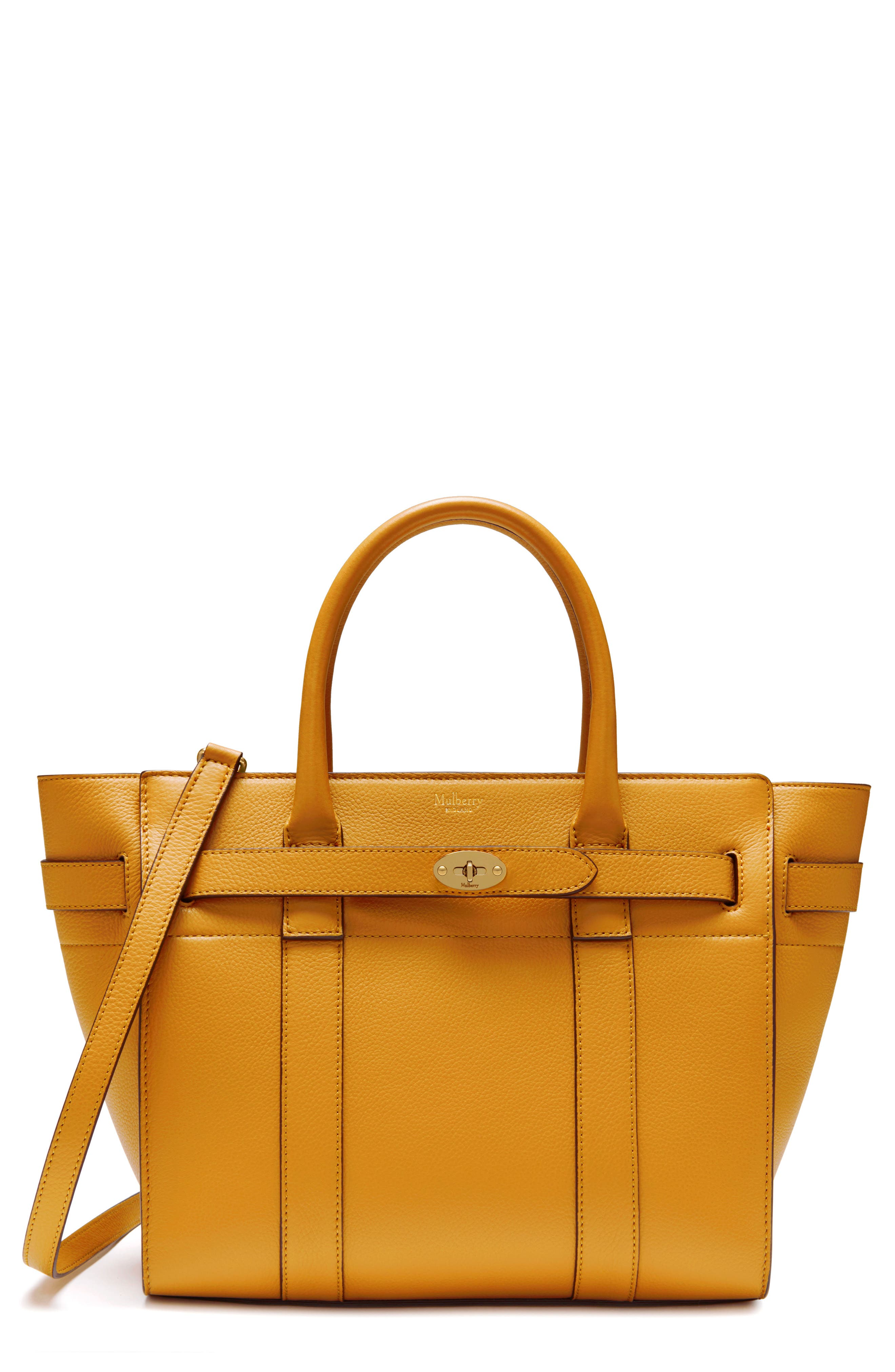 Small Zip Bayswater Classic Leather Tote - Yellow, Deep Amber