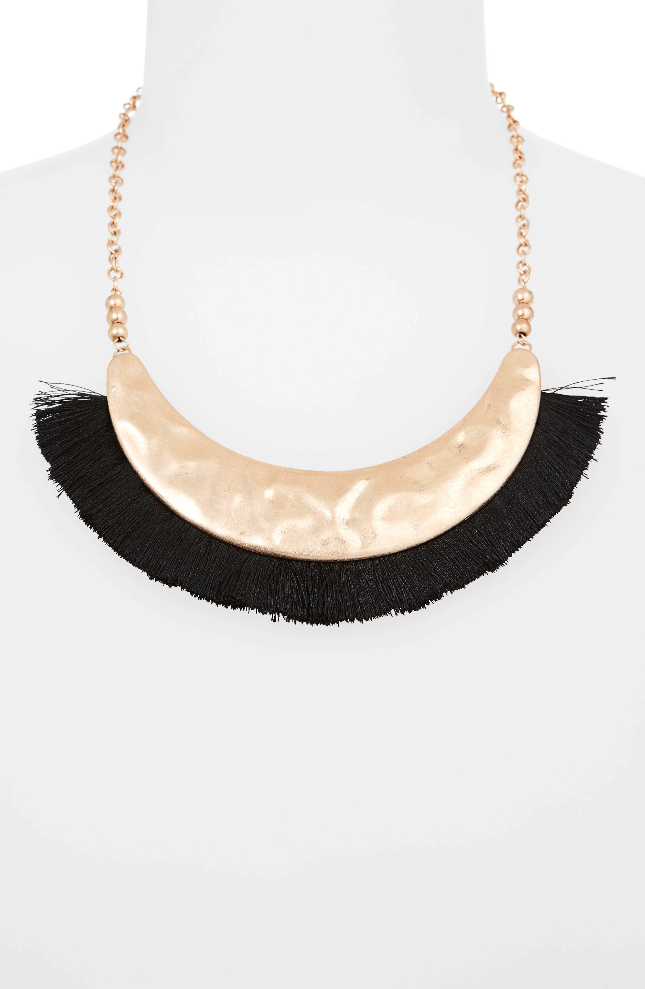 Fringe Collar Necklace,                             Alternate thumbnail 2, color,                             Black