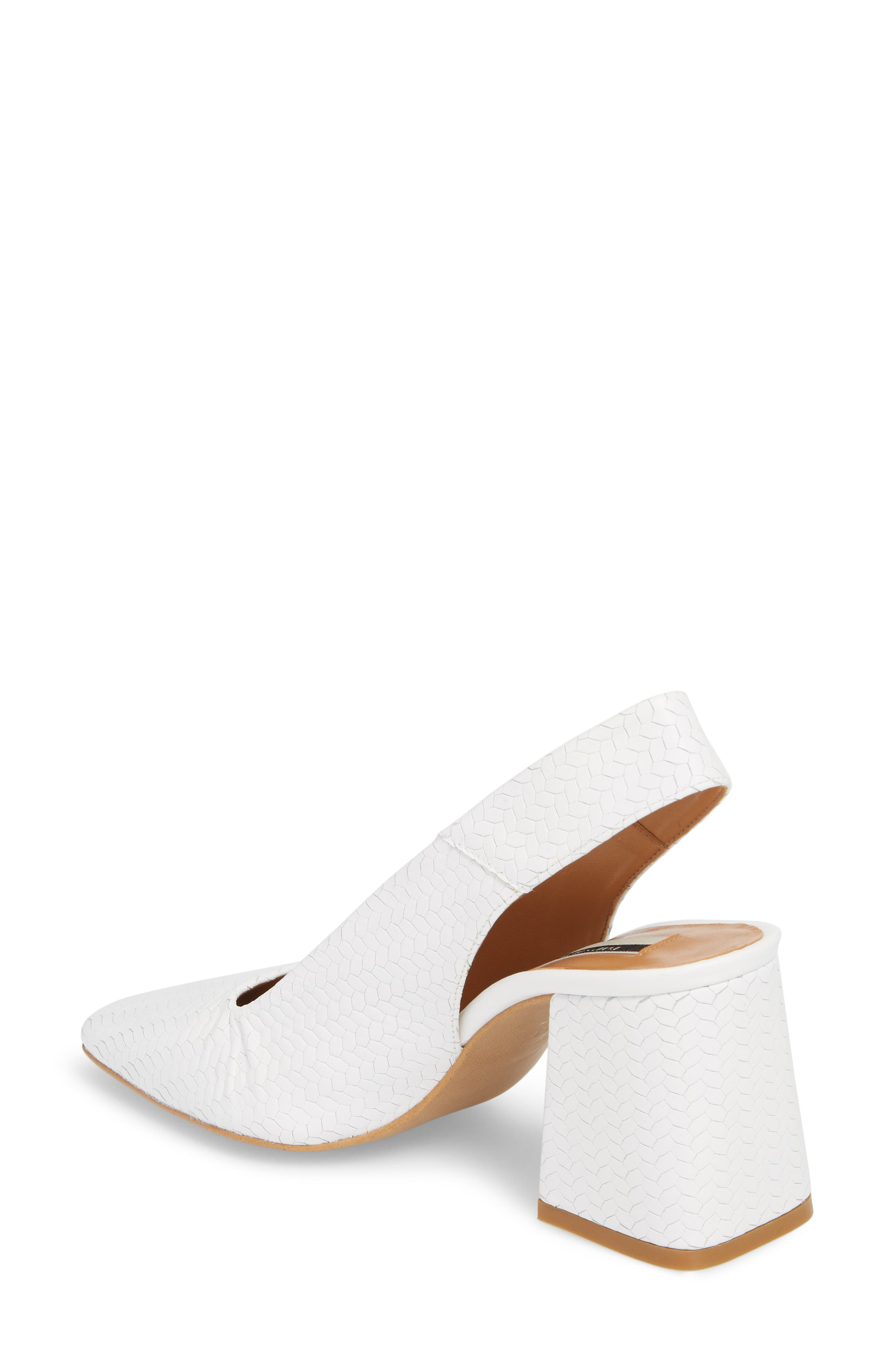 Gainor Block Heel Slingback Pump,                             Alternate thumbnail 2, color,                             White