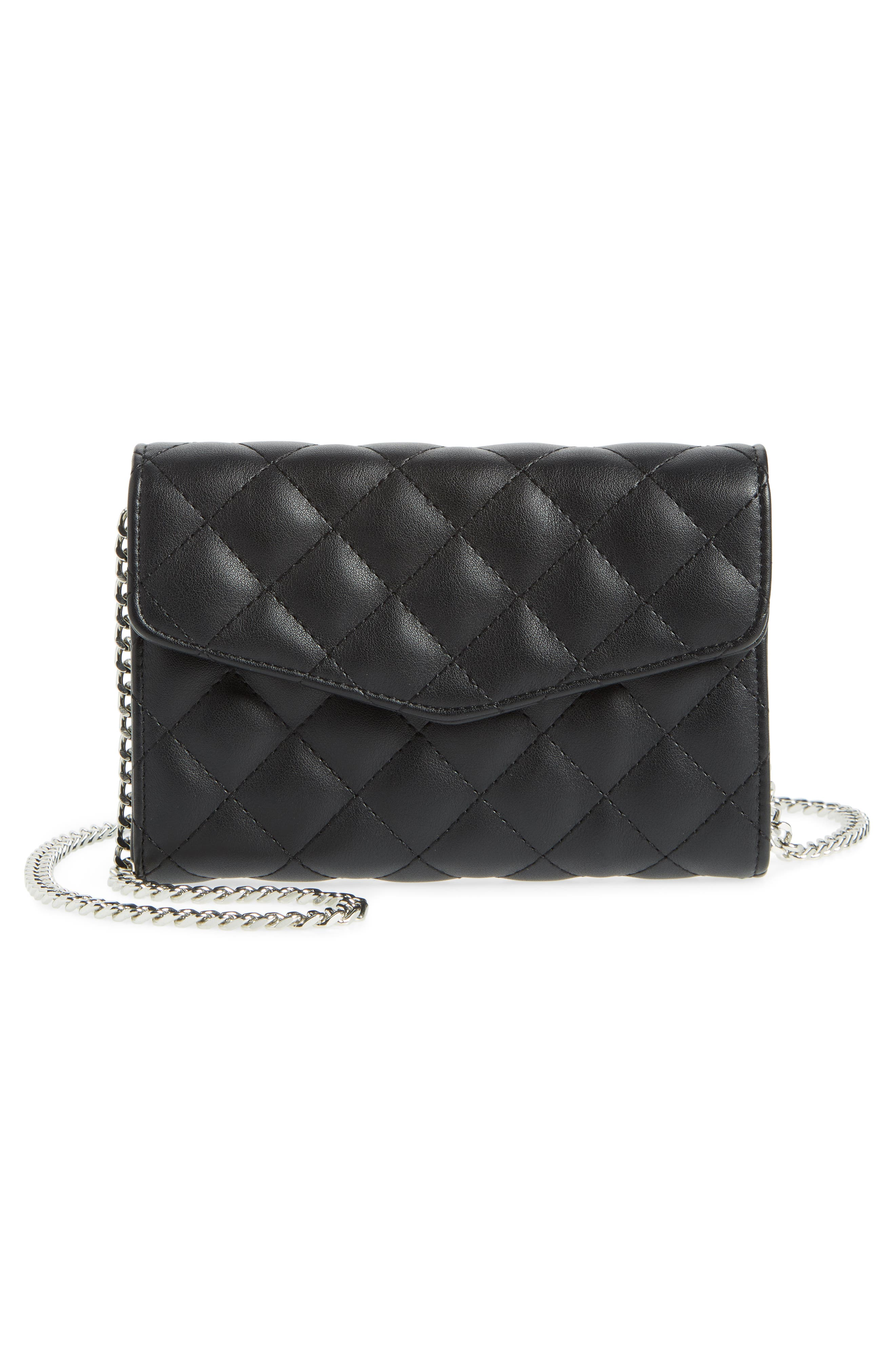 Quilted Bag with Crossbody Strap,                             Alternate thumbnail 4, color,                             Black