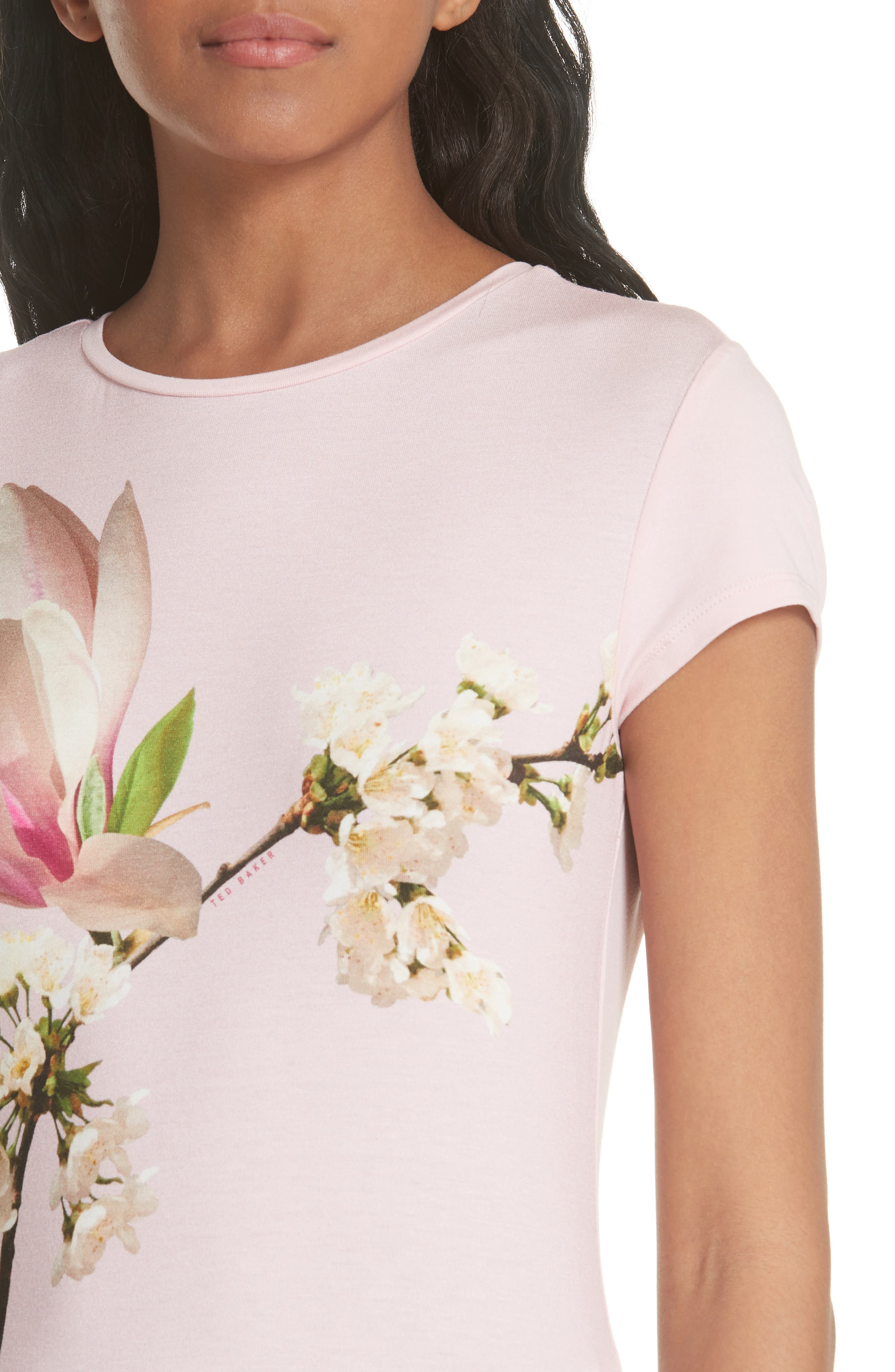 Ameliza Harmony Fitted Tee,                             Alternate thumbnail 4, color,                             Pale Pink