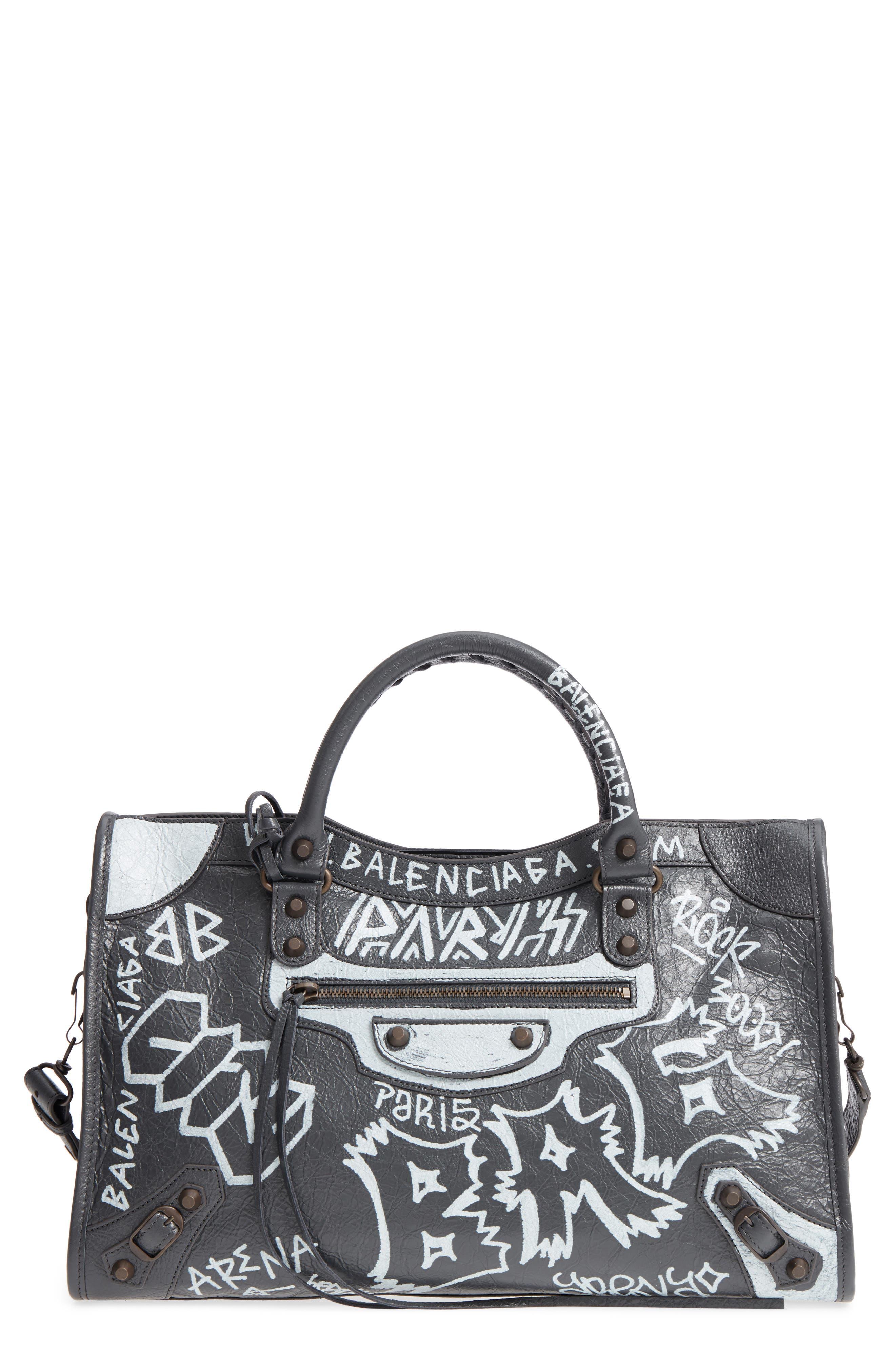 City Graffiti Leather Tote,                         Main,                         color, Gris Fossile/ Blanc