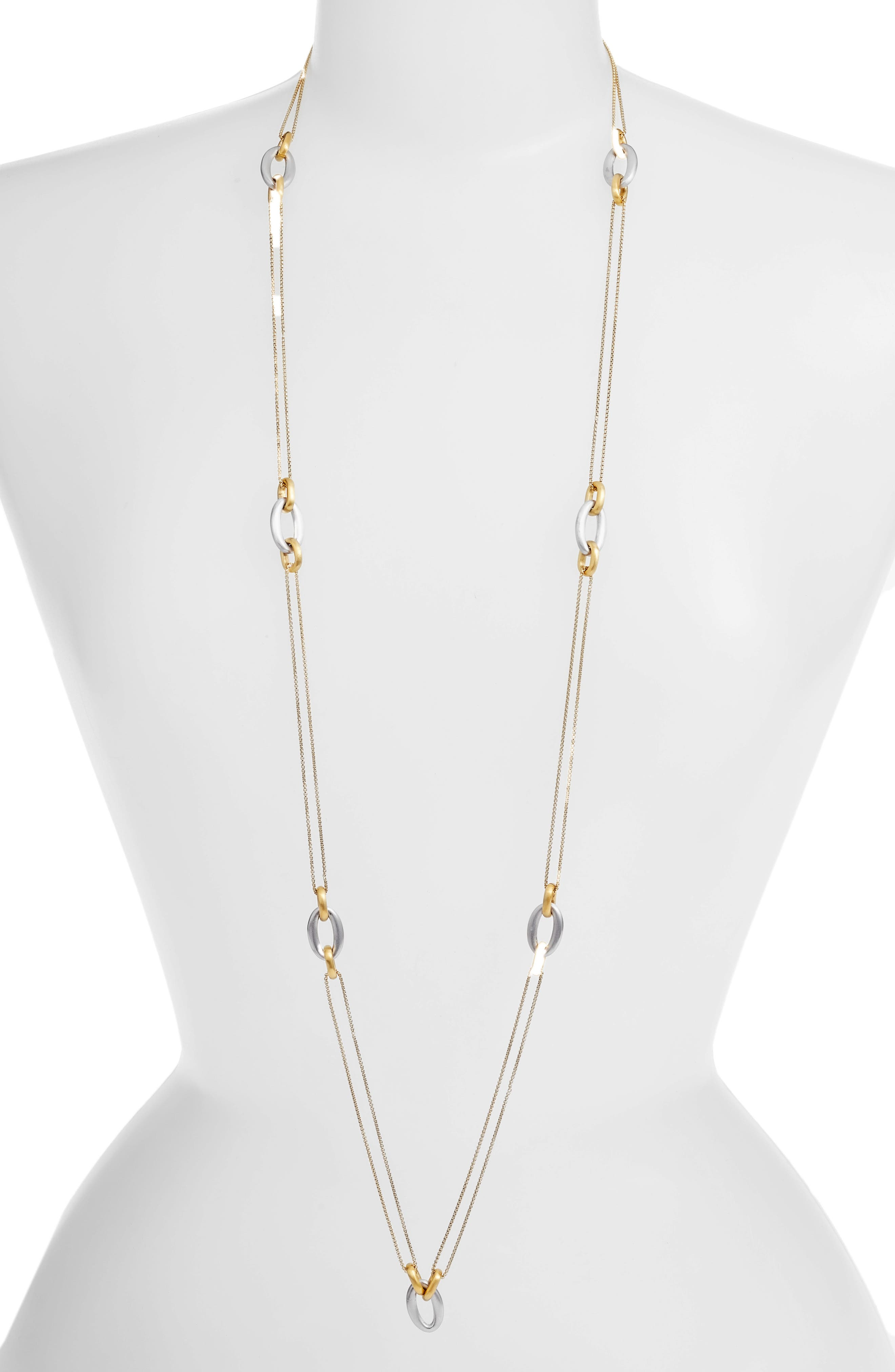 Lagoon Link Station Necklace,                             Main thumbnail 1, color,                             Silver/ Gold