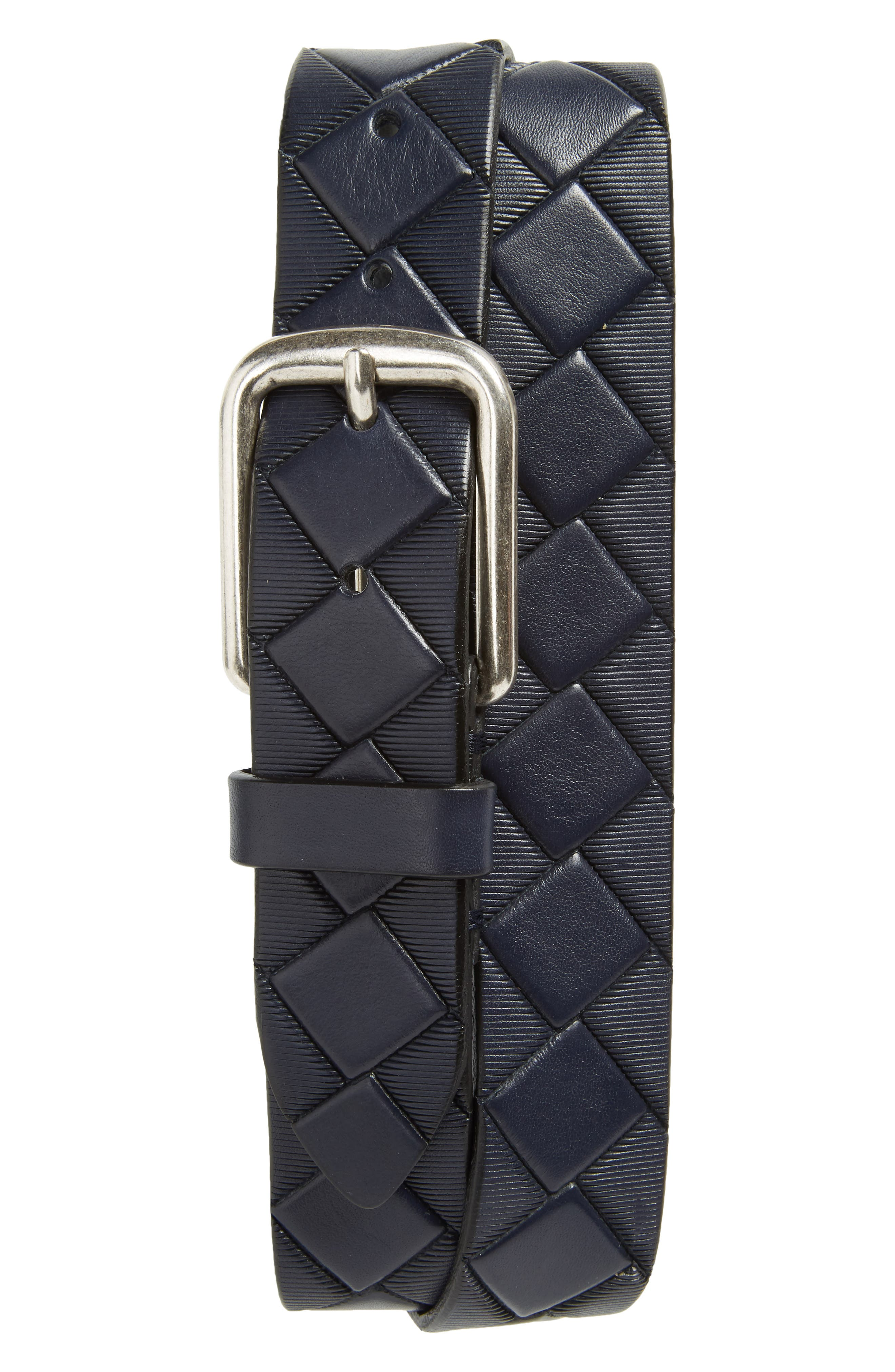 Basketweave Leather Belt,                             Main thumbnail 1, color,                             Navy